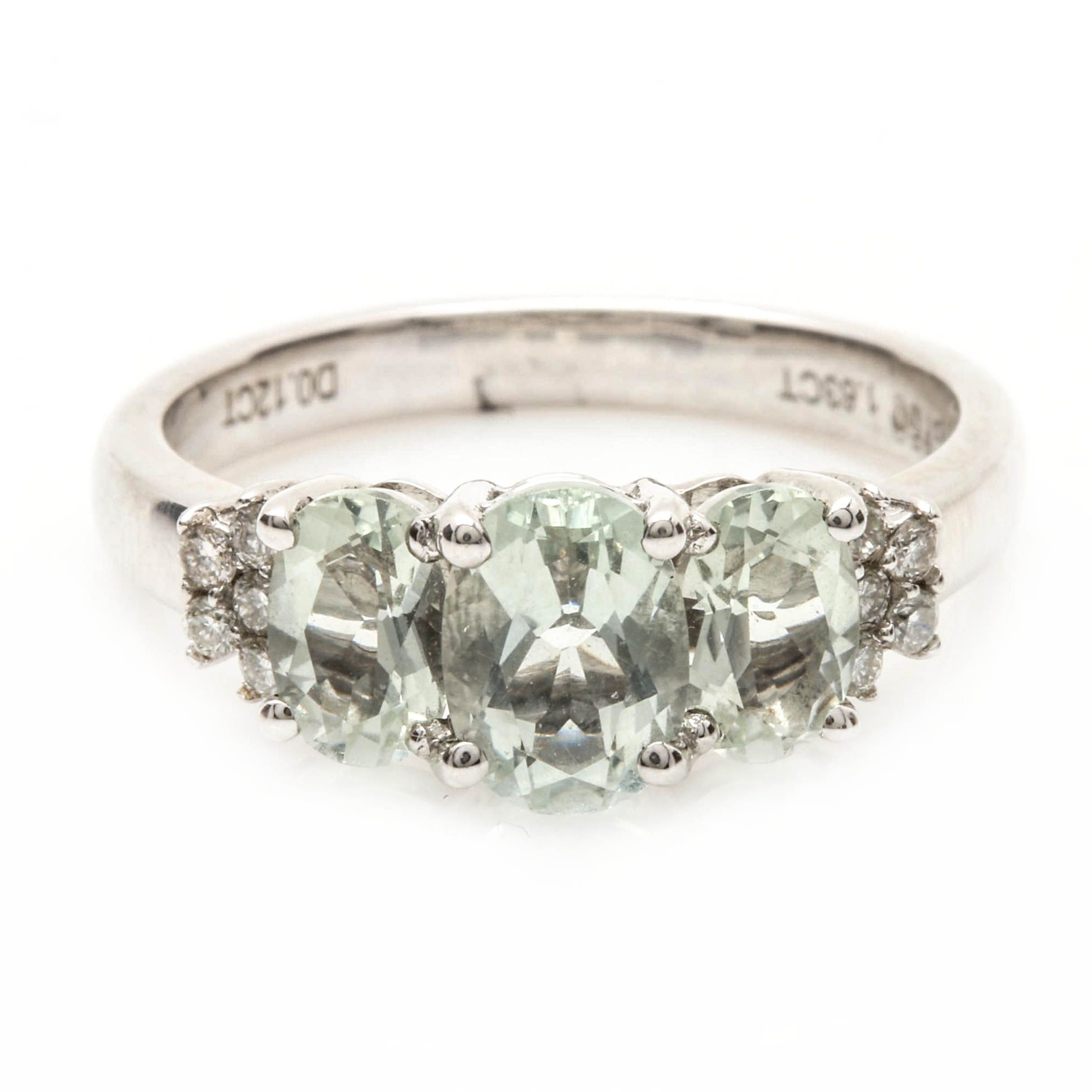 18K White Gold Praseolite and Diamond Ring