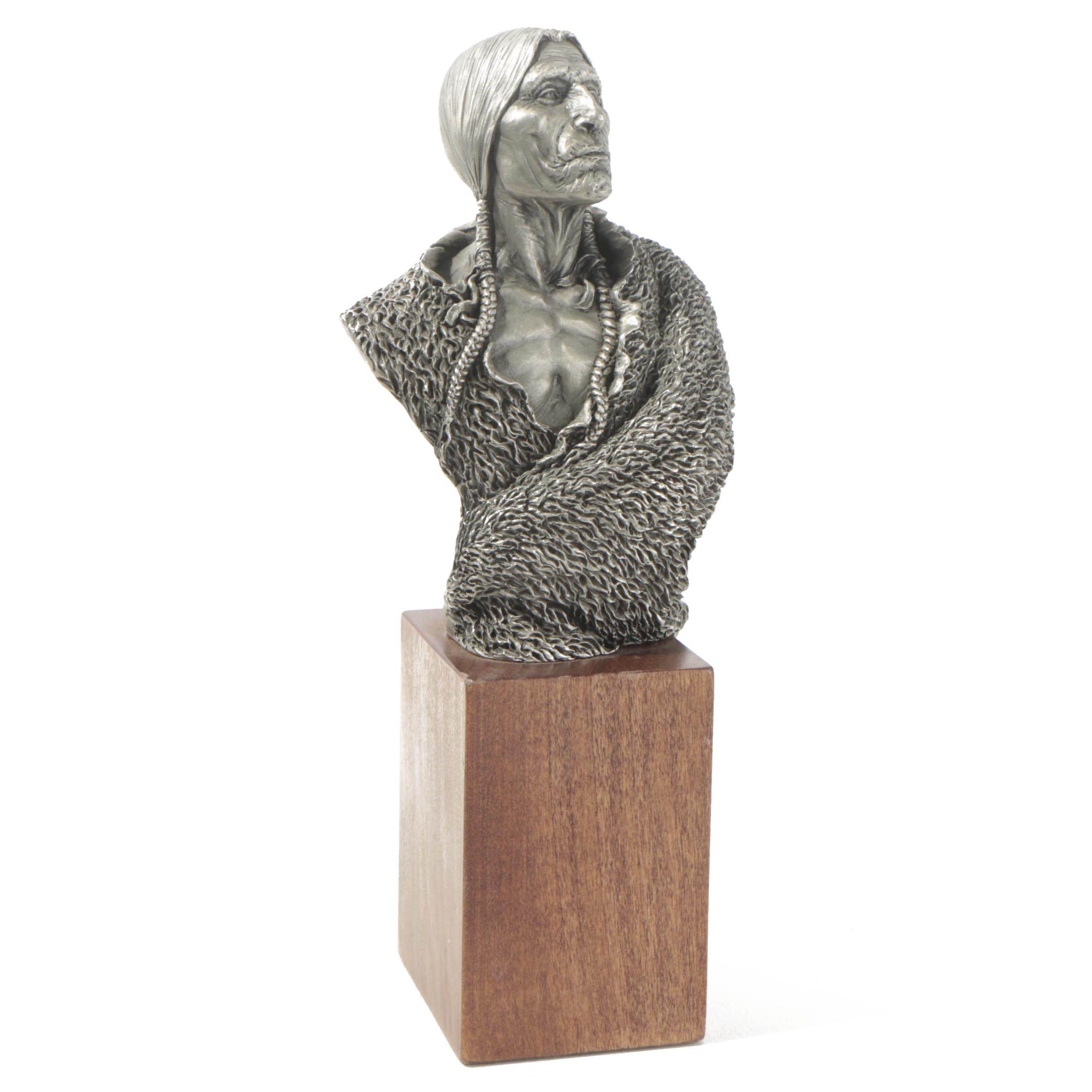 """Joe Slockbrower Pewter Sculpture """"Old Storyteller"""""""