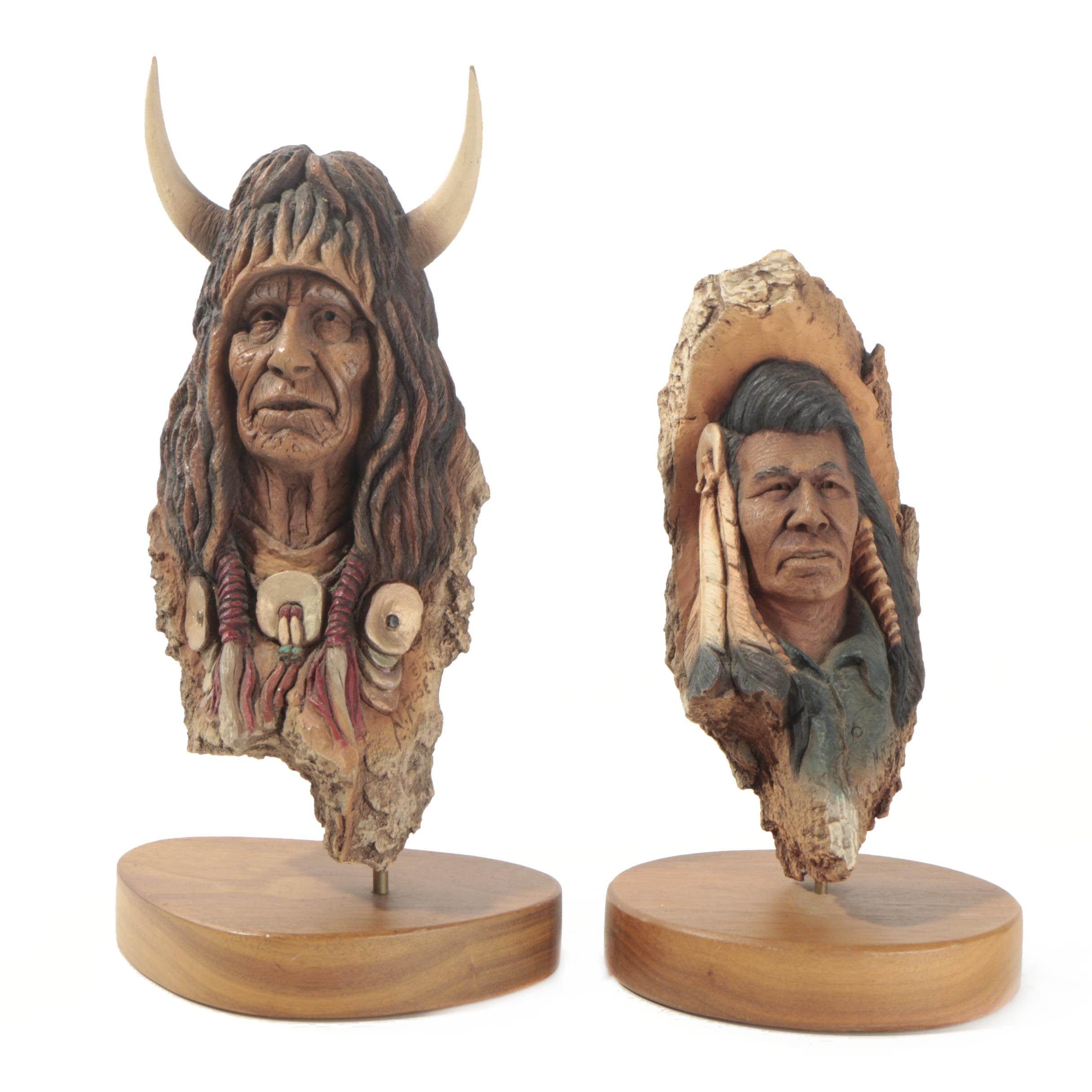 "Neil J. Rose Wooden Sculptures ""Running Bear"" & ""The Storyteller"""