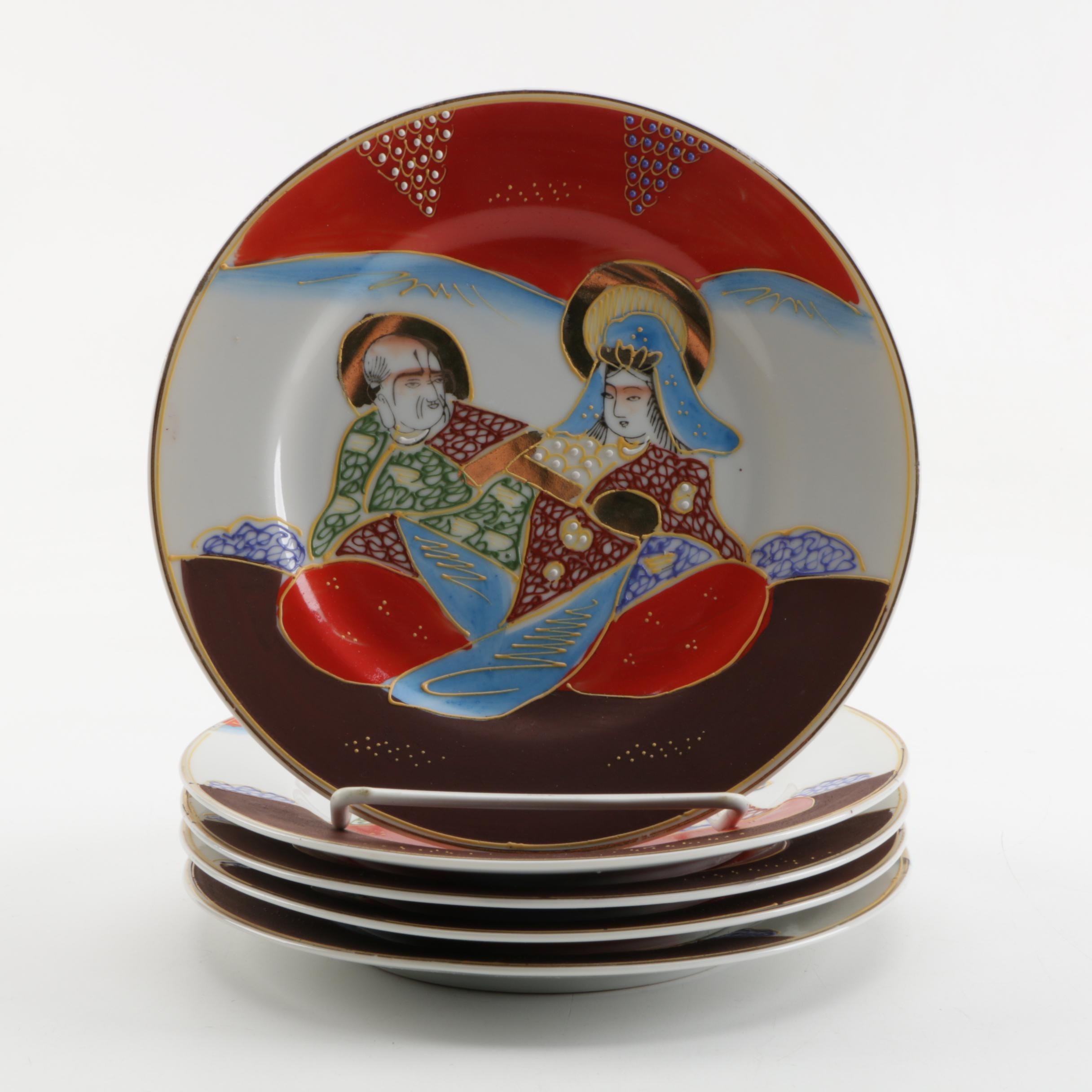 Early Shōwa Period Hand-painted Japanese Porcelain Plates