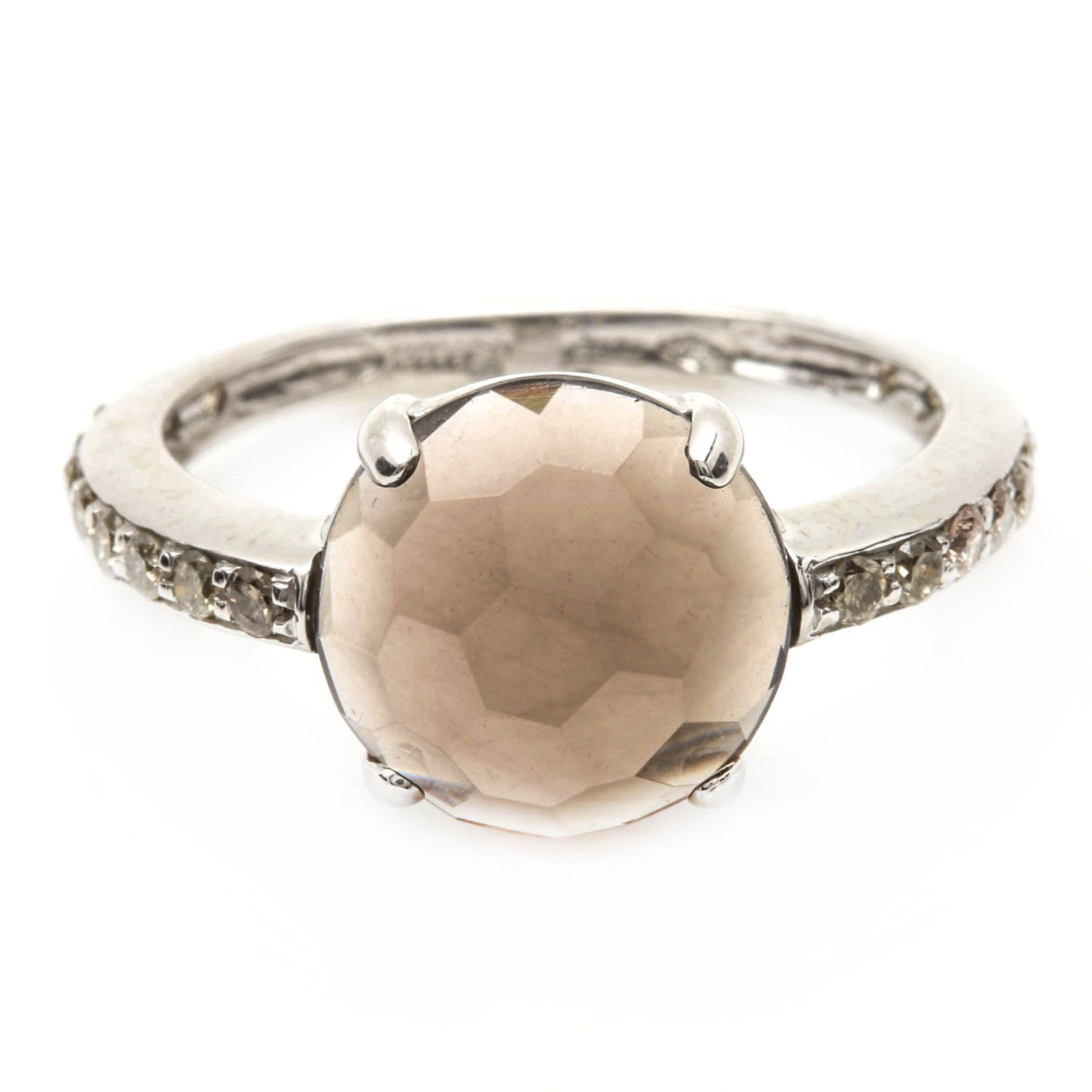 Zoccai 18K White Gold Smoky Quartz and Diamond Ring
