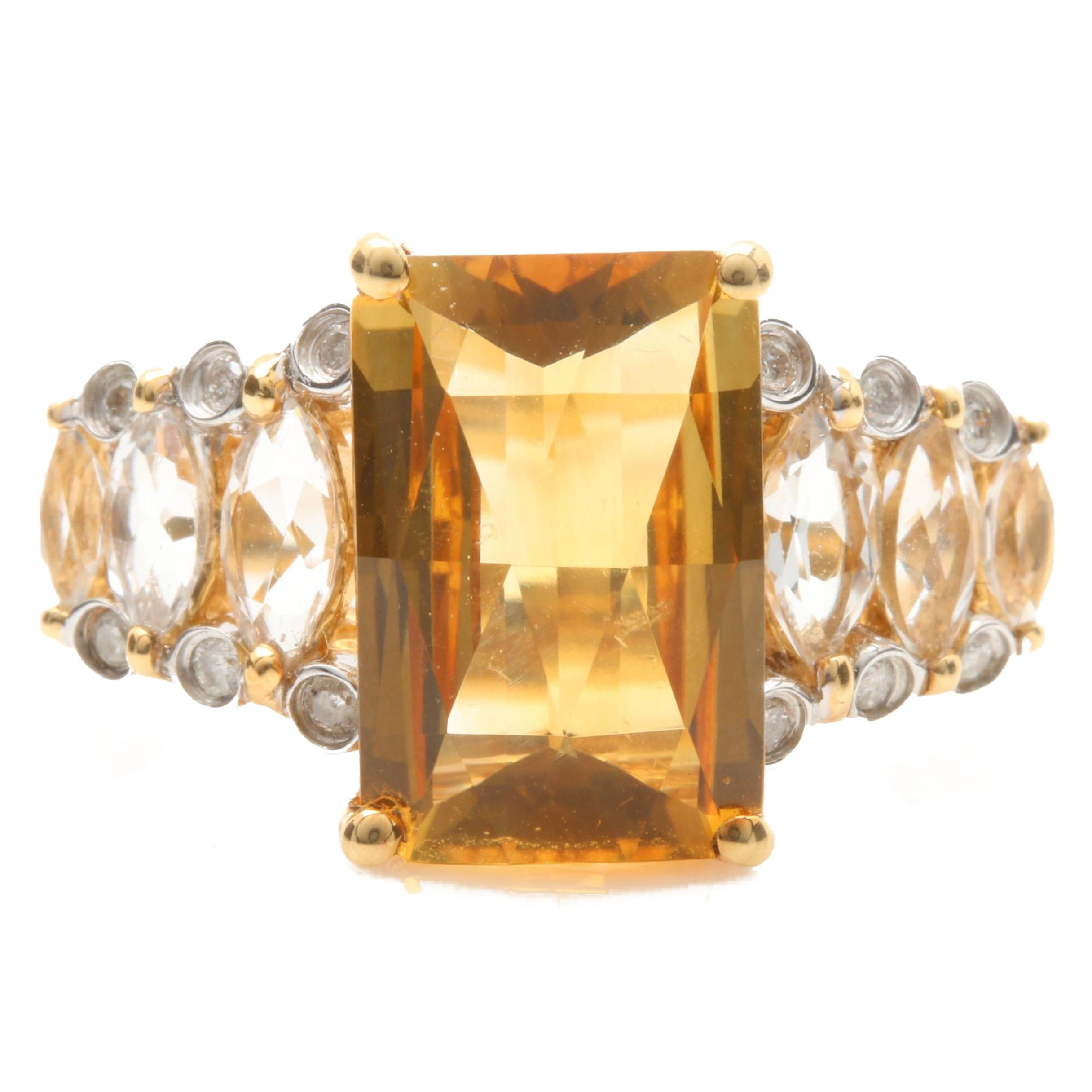18K Yellow Gold Citrine, Synthetic Spinel, and Diamond Ring