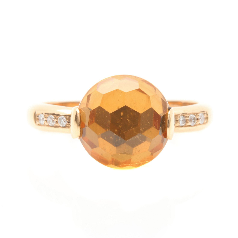 Zoccai 18K Yellow Gold Diamond and Citrine Ring