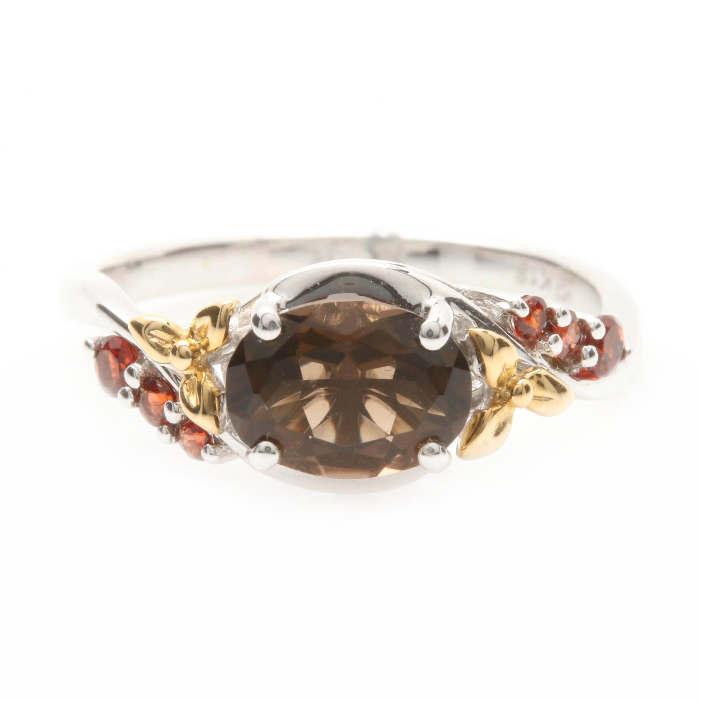 18K White Gold Smoky Quartz and Garnet Bypass Ring