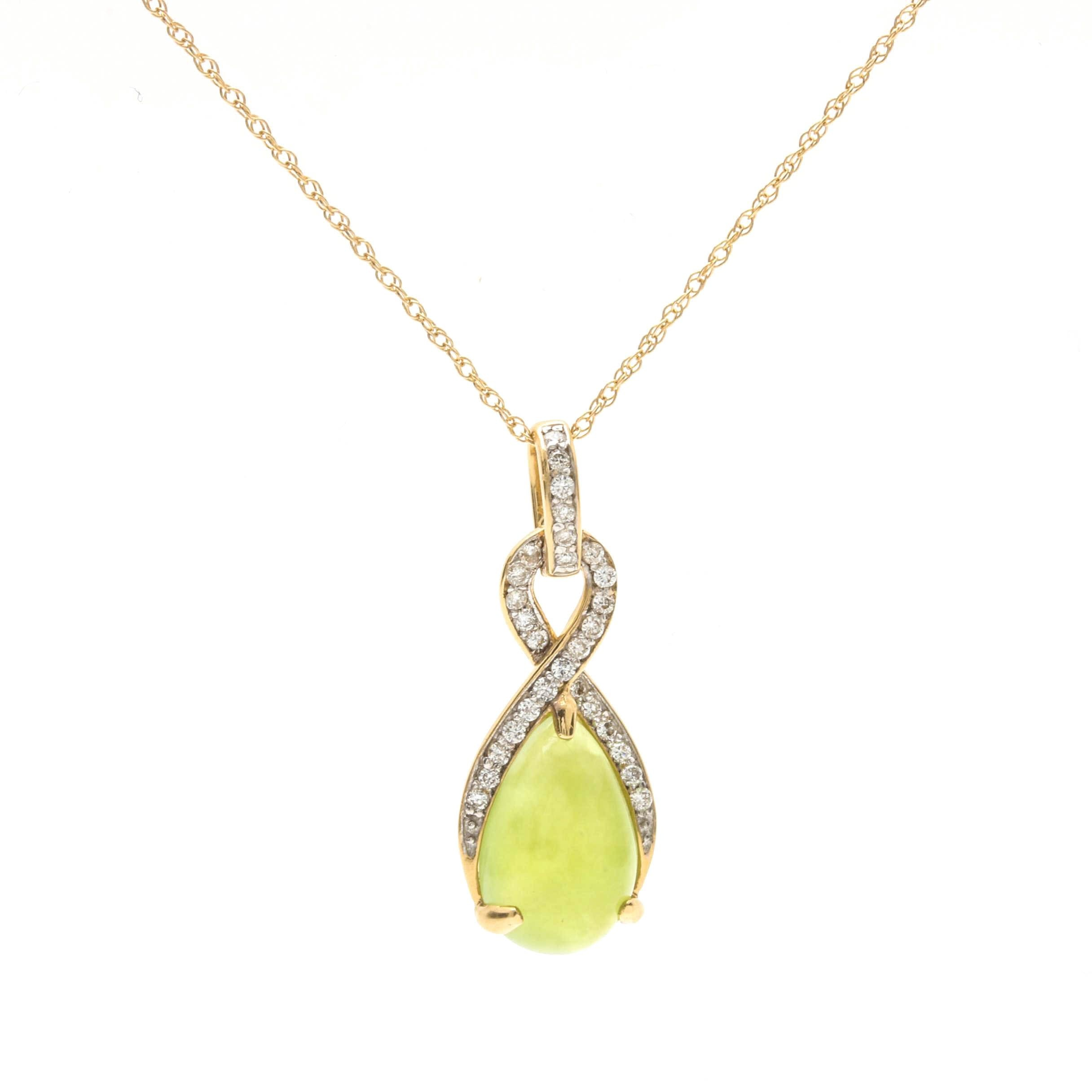 18K Yellow Gold Green Opal and Diamond Pendant on 14K Yellow Gold Chain