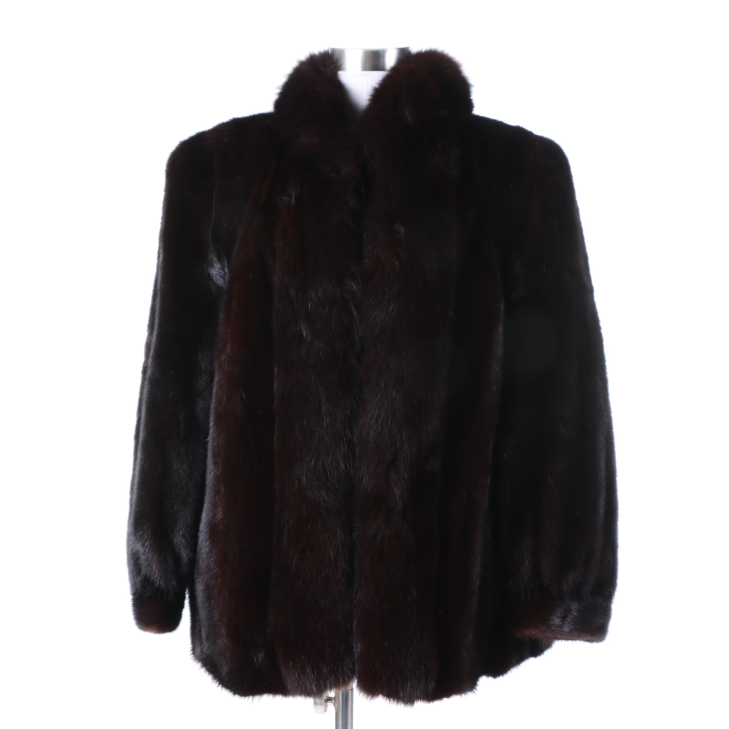 Women's Vintage Brown Mink Fur Coat with Fox Fur Trim