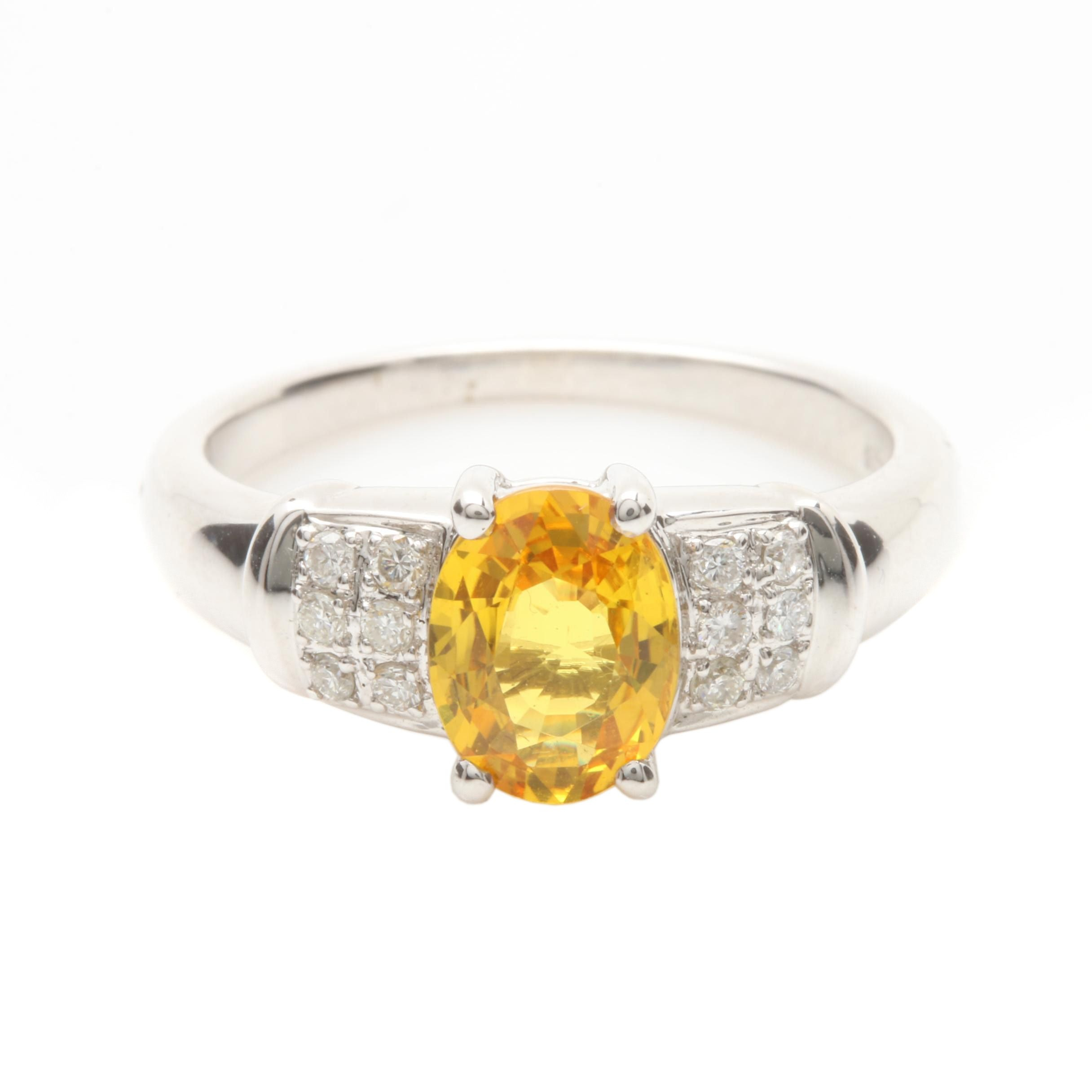 18K White Gold 1.28 CT Yellow Sapphire and Diamond Ring