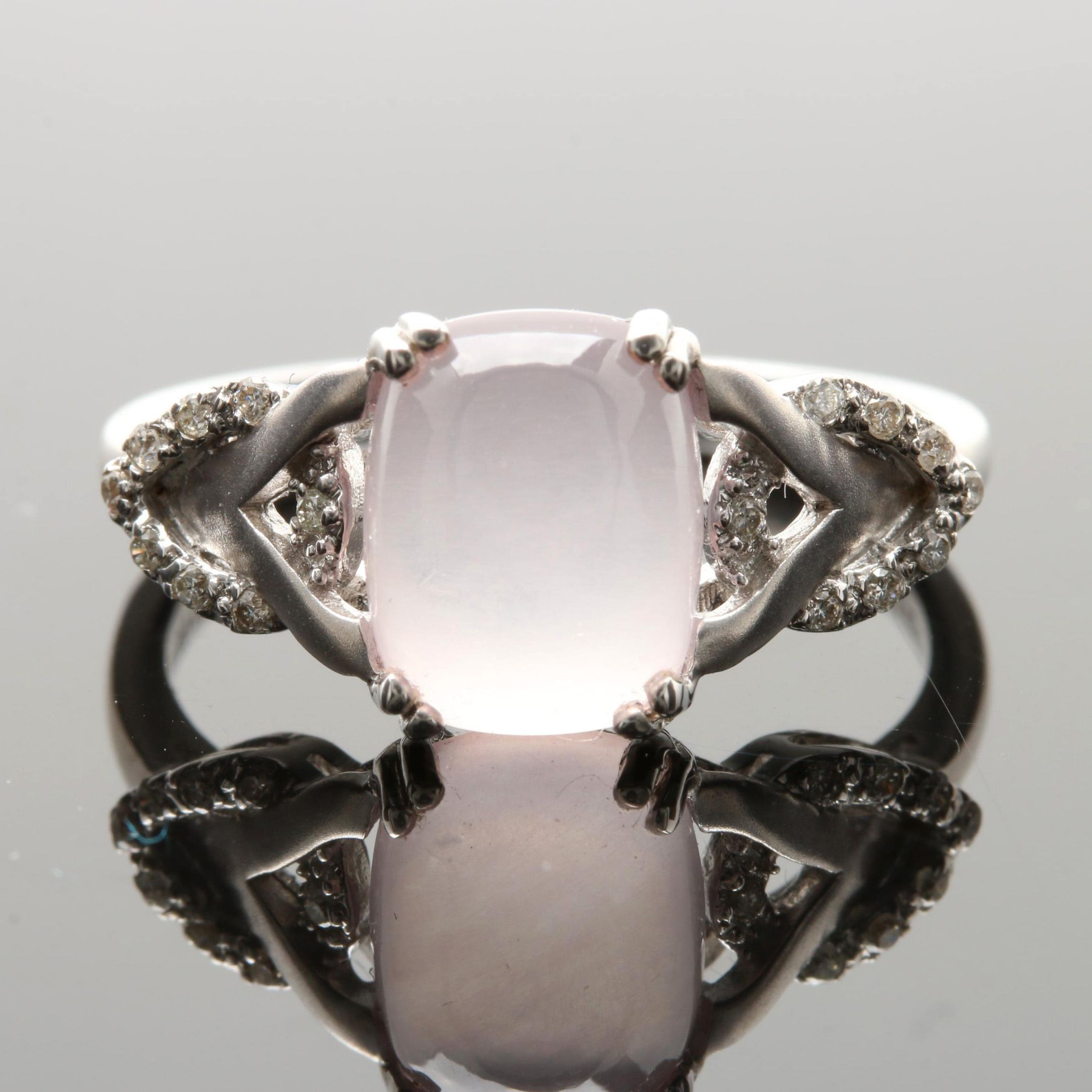 18K White Gold Rose Quartz and Diamond Ring