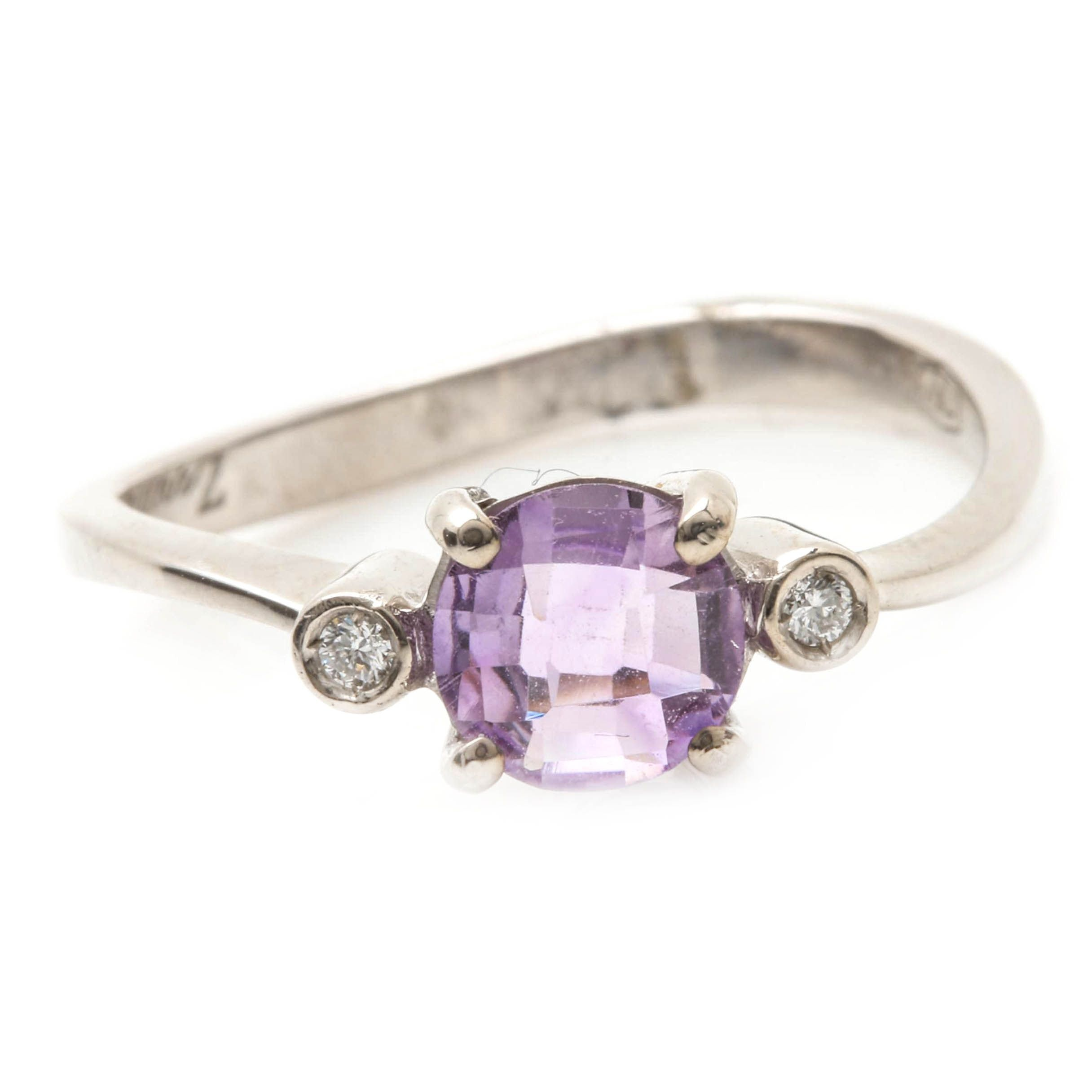 Zoccai 18K White Gold Amethyst and Diamond Ring