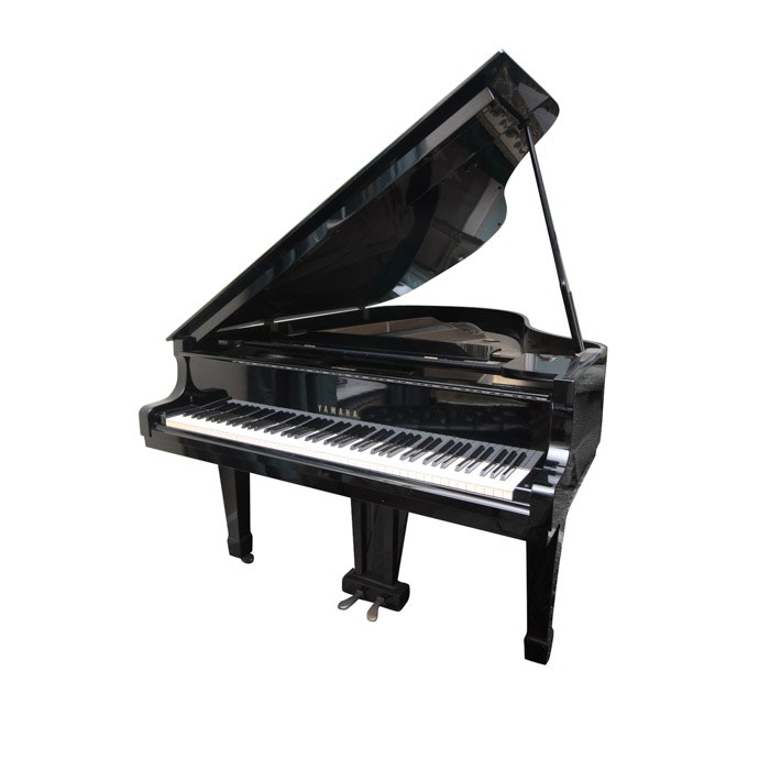 Black Yamaha Grand Piano and Bench