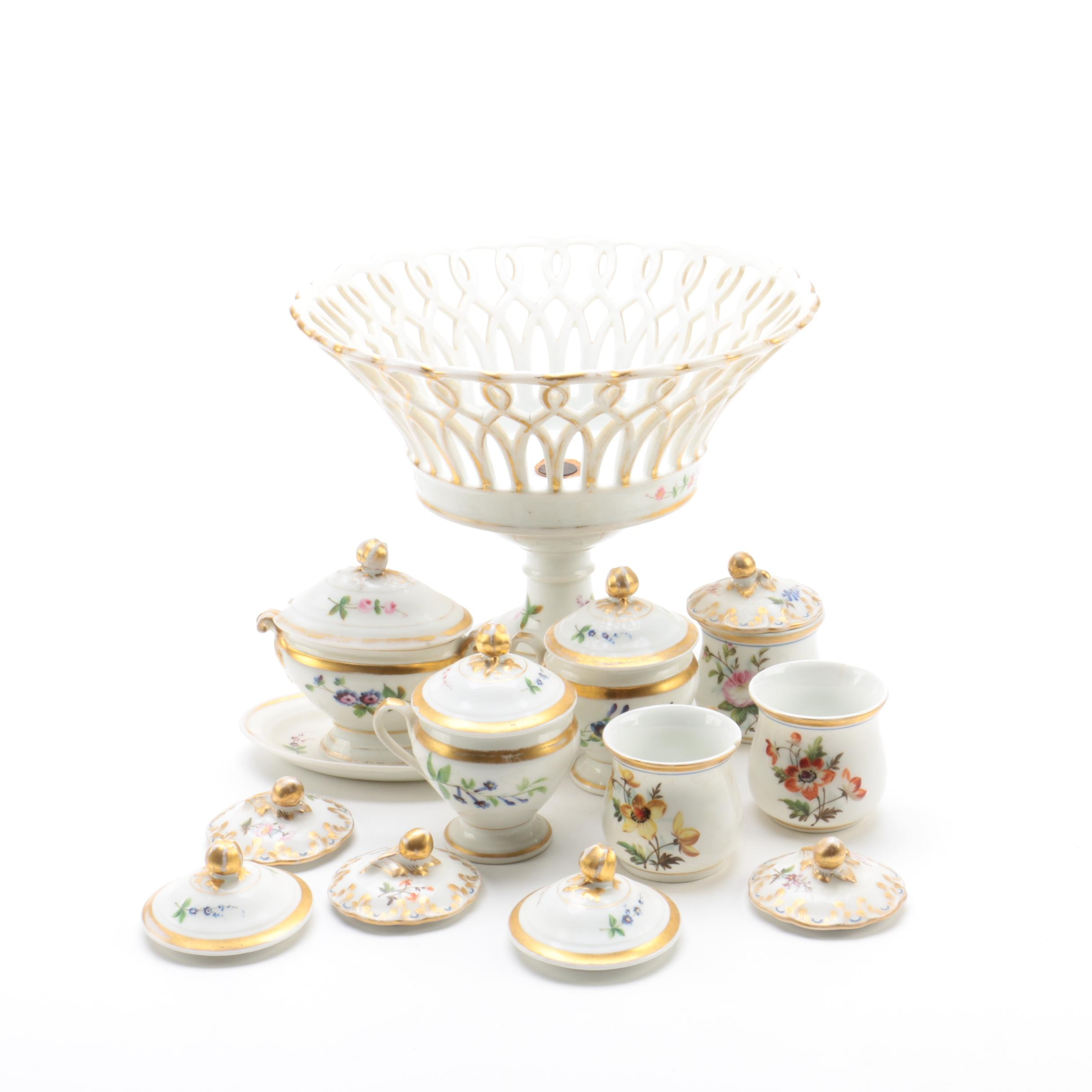 Antique Paris Porcelain Compote and Serveware