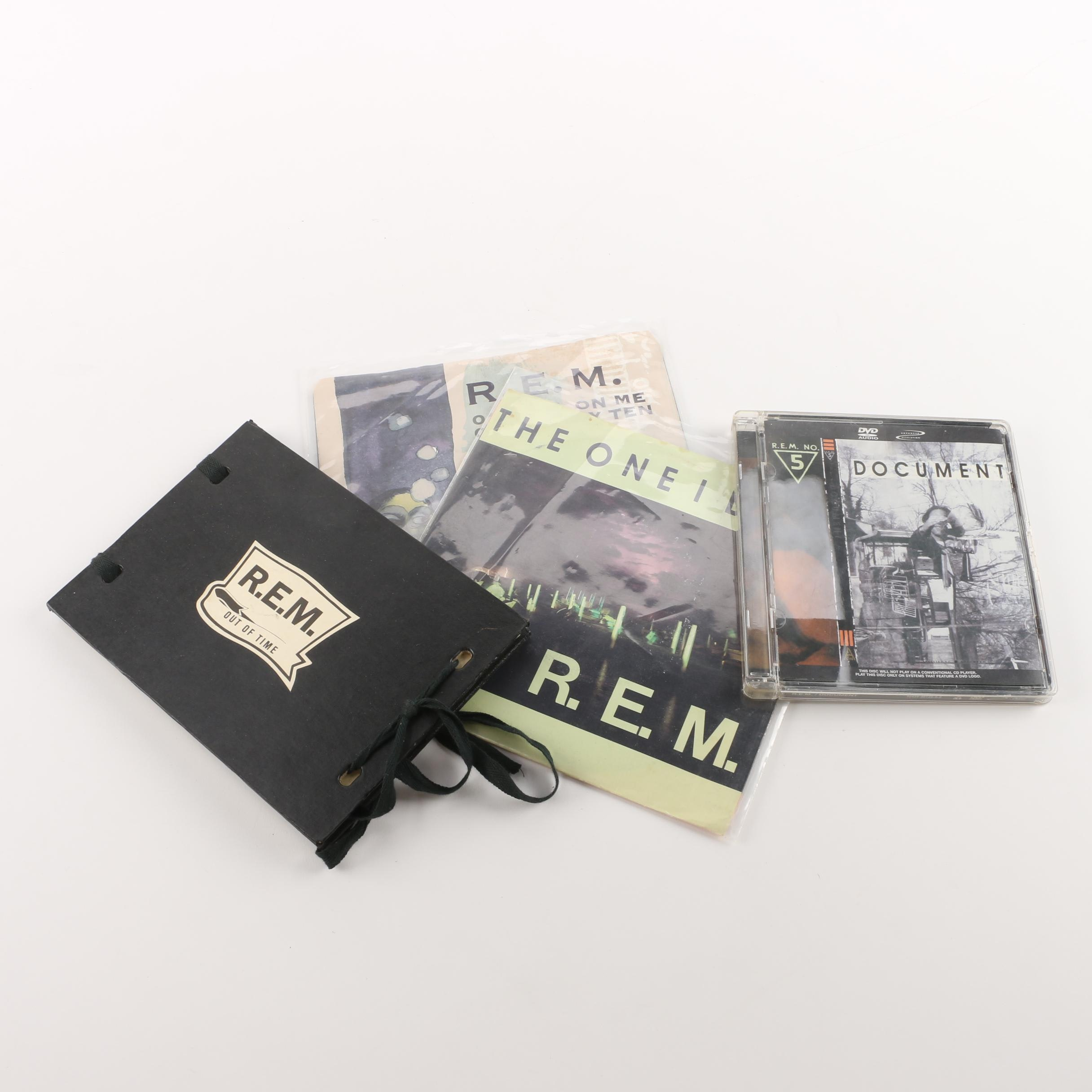 """REM CDs and 7"""" Records, Including Limited Edition """"Out of Time"""" Postcards and CD"""