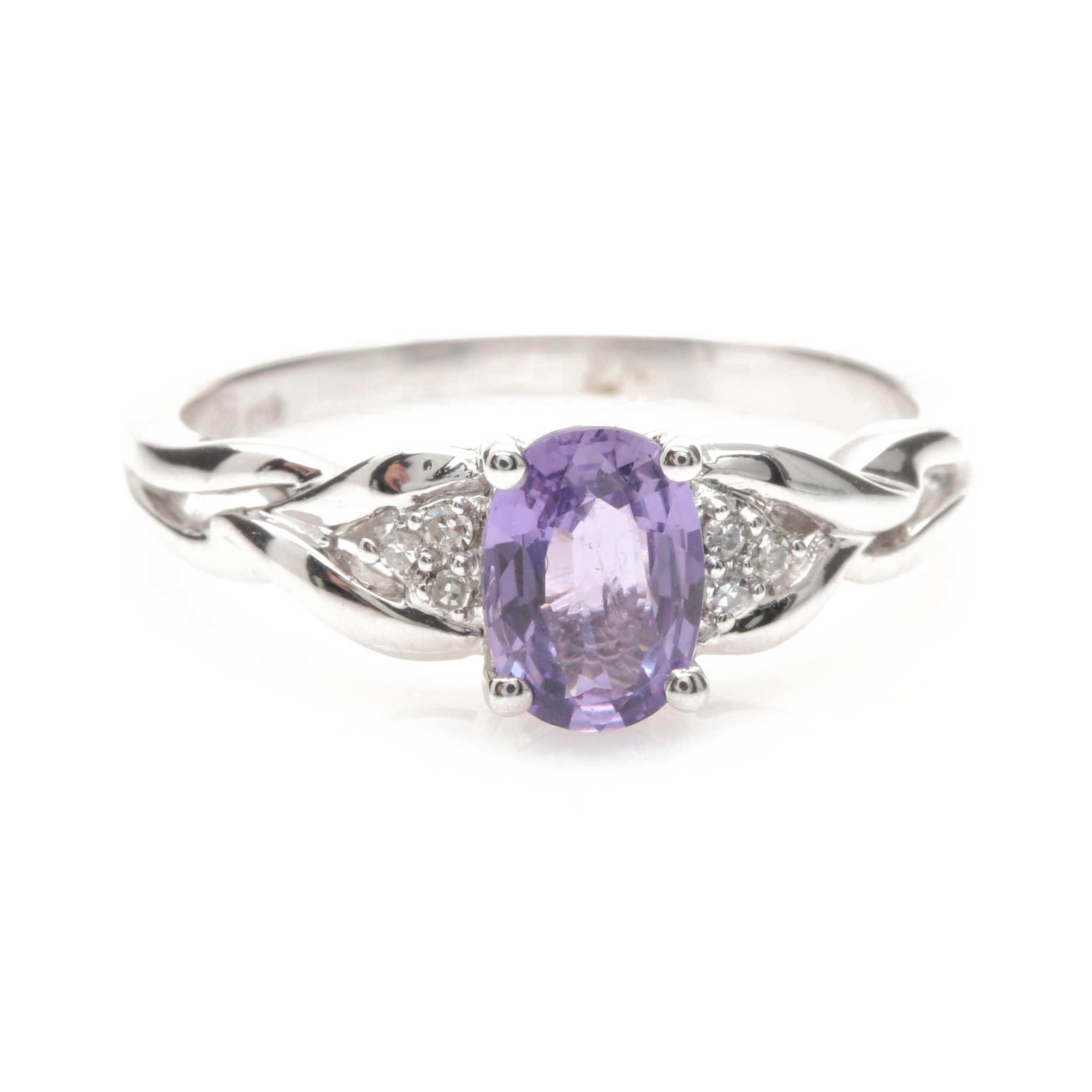 18K White Gold Purple Sapphire and Diamond Ring