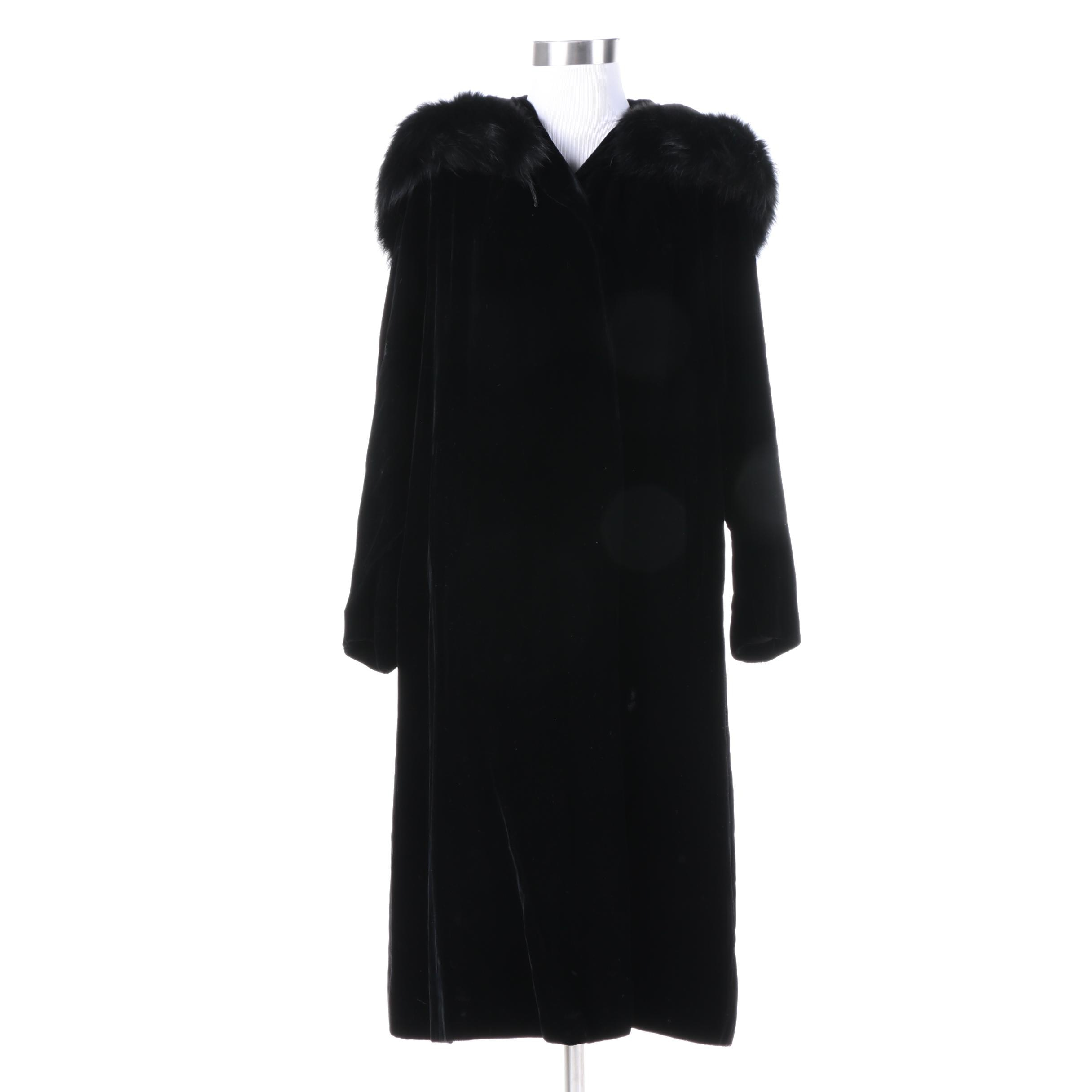 Women's Vintage Black Velvet Overcoat with Fox Fur Collar
