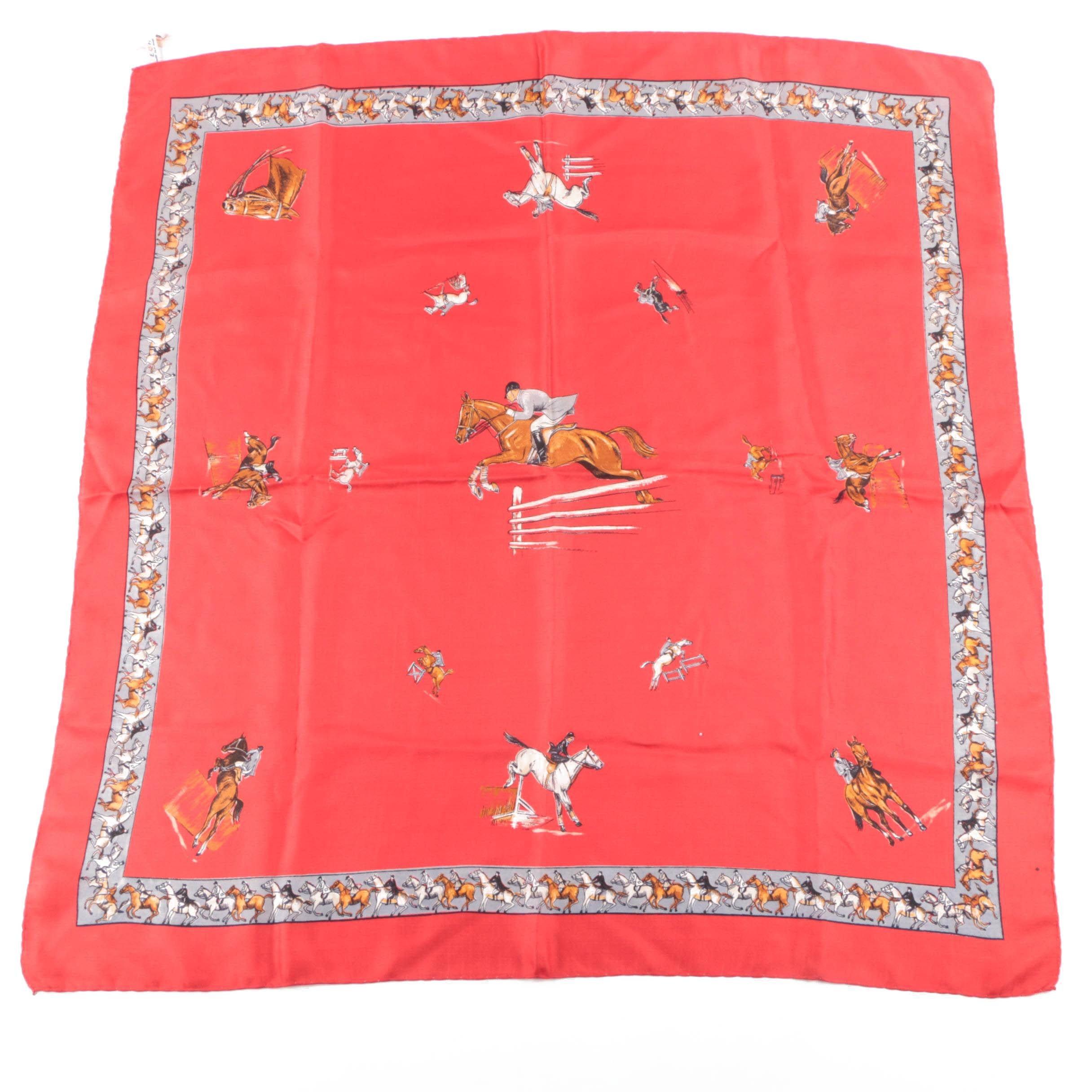 Vintage Echo Red Silk Fashion Scarf with Equestrian Print