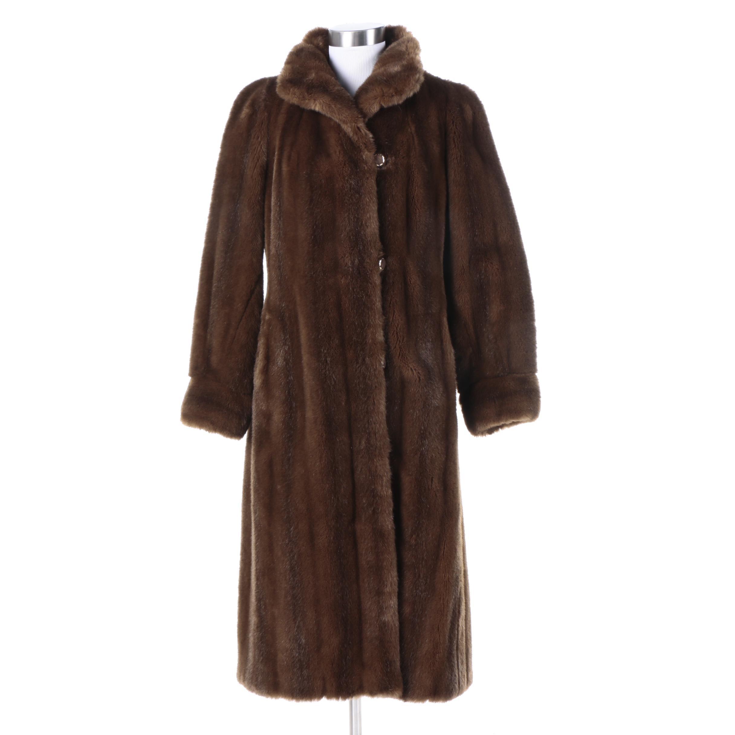 Women's Vintage Grandella Brown Faux Fur Overcoat