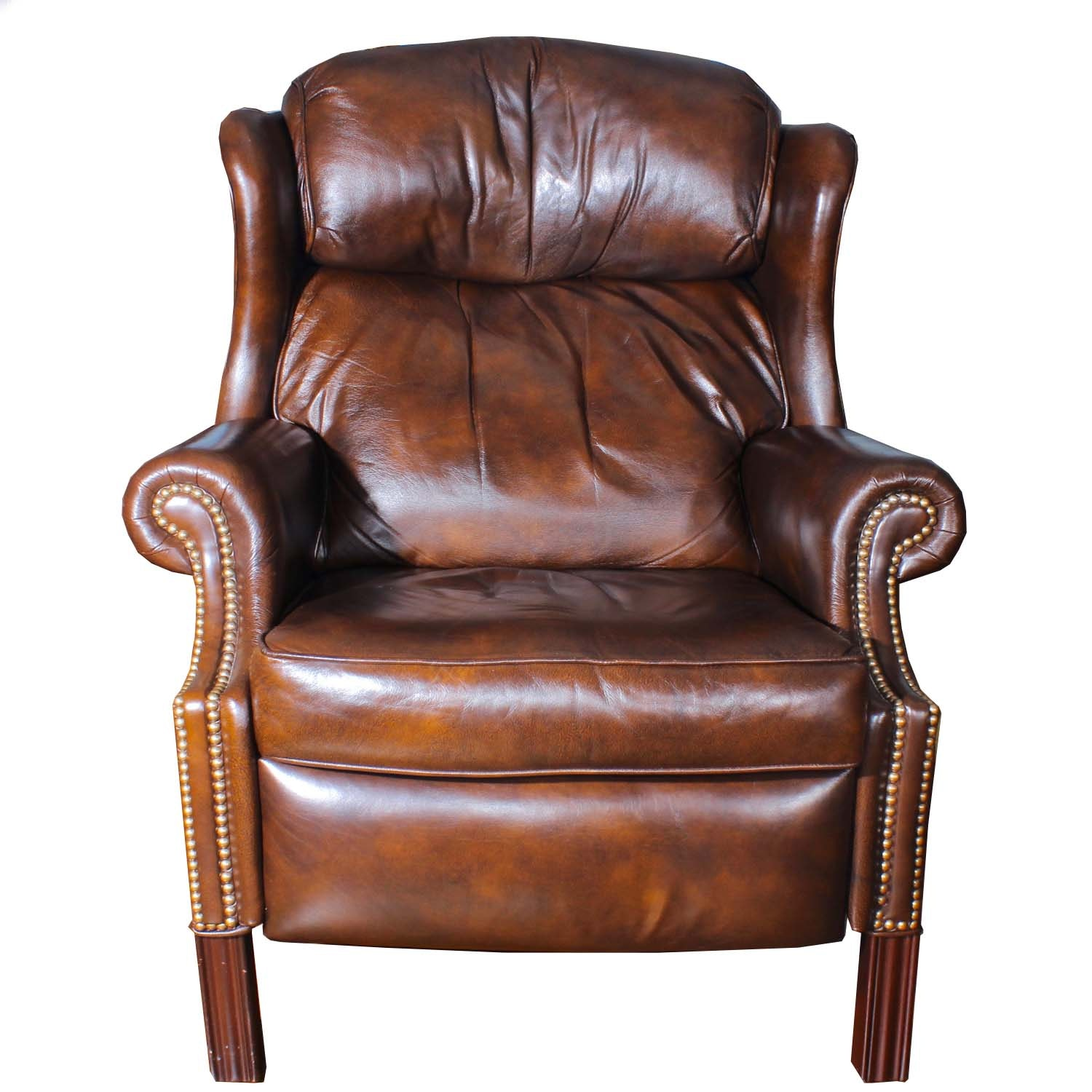 Bradington-Young Wing Back Leather Recliner with Nailhead Trim