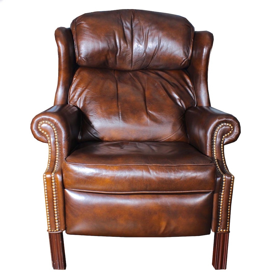 Bradington Young Wing Back Leather Recliner With Nailhead Trim