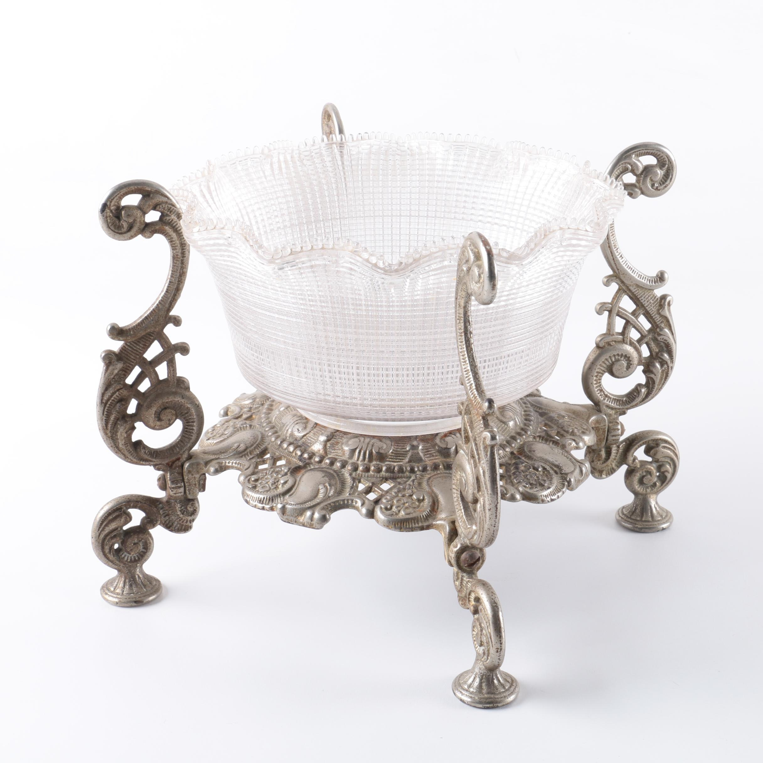 Ornate Metal and Glass Serving Dish