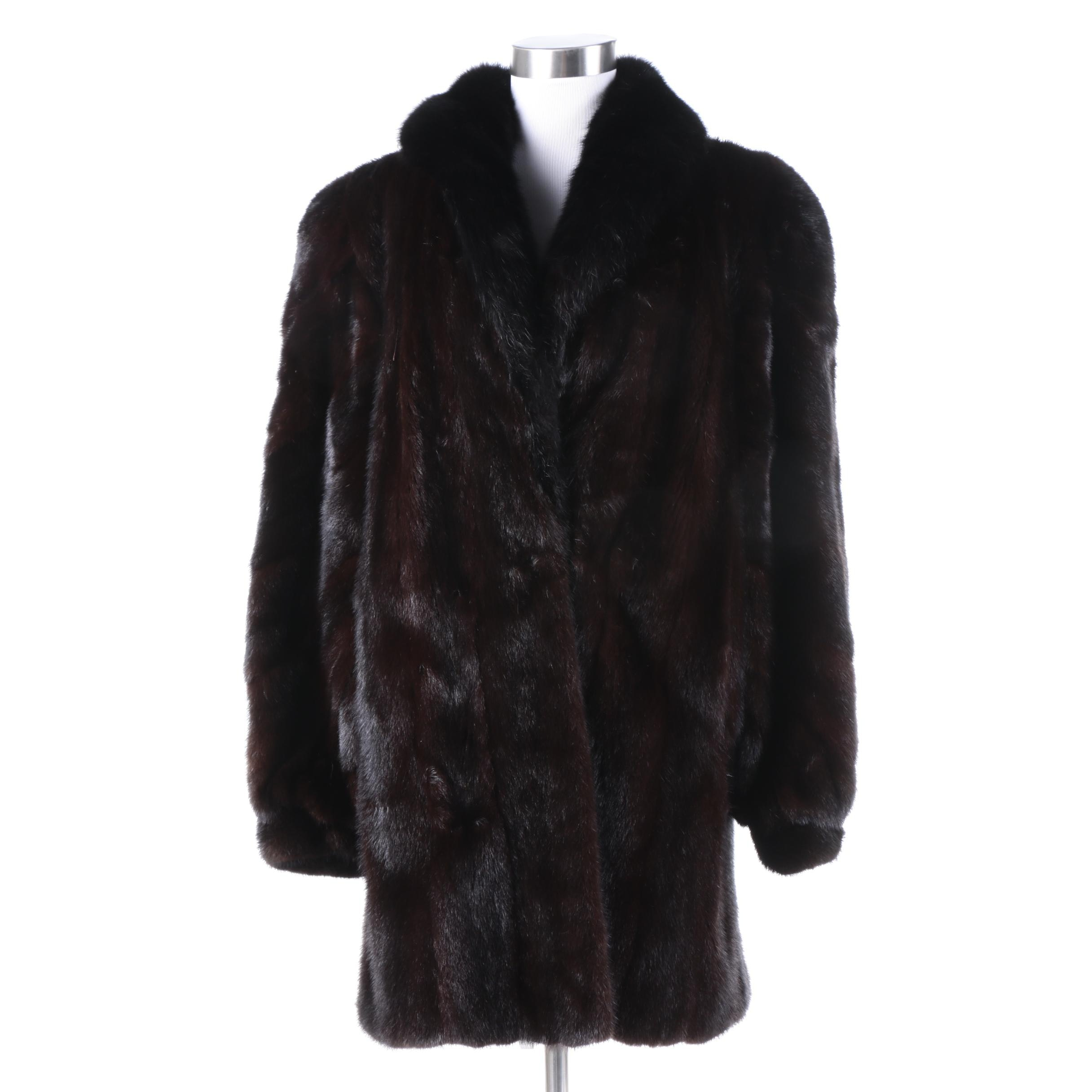 Vintage Mink Coat with Fox Fur Collar