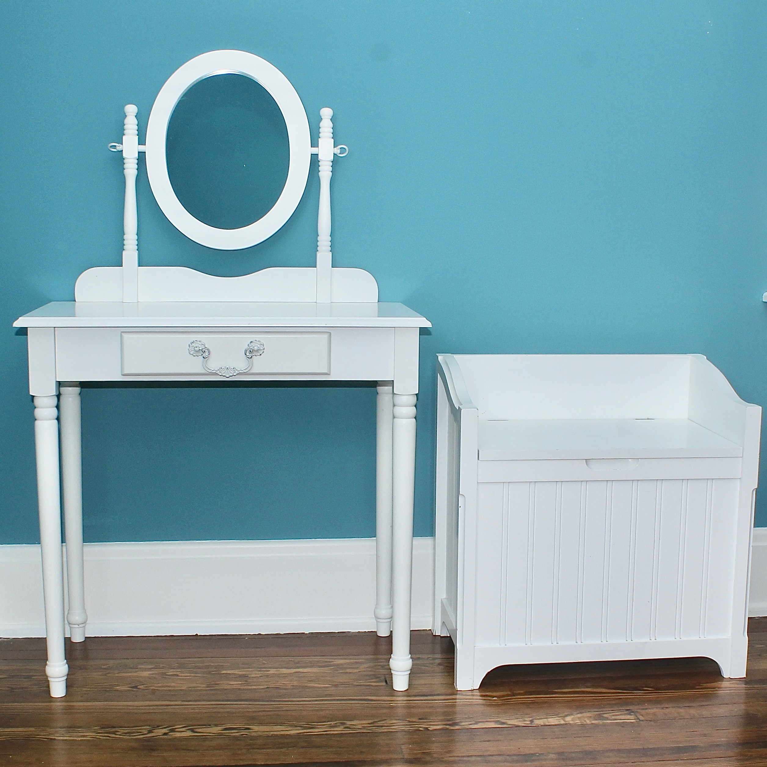 White Pottery Barn Kids Vanity and Bedroom Bench
