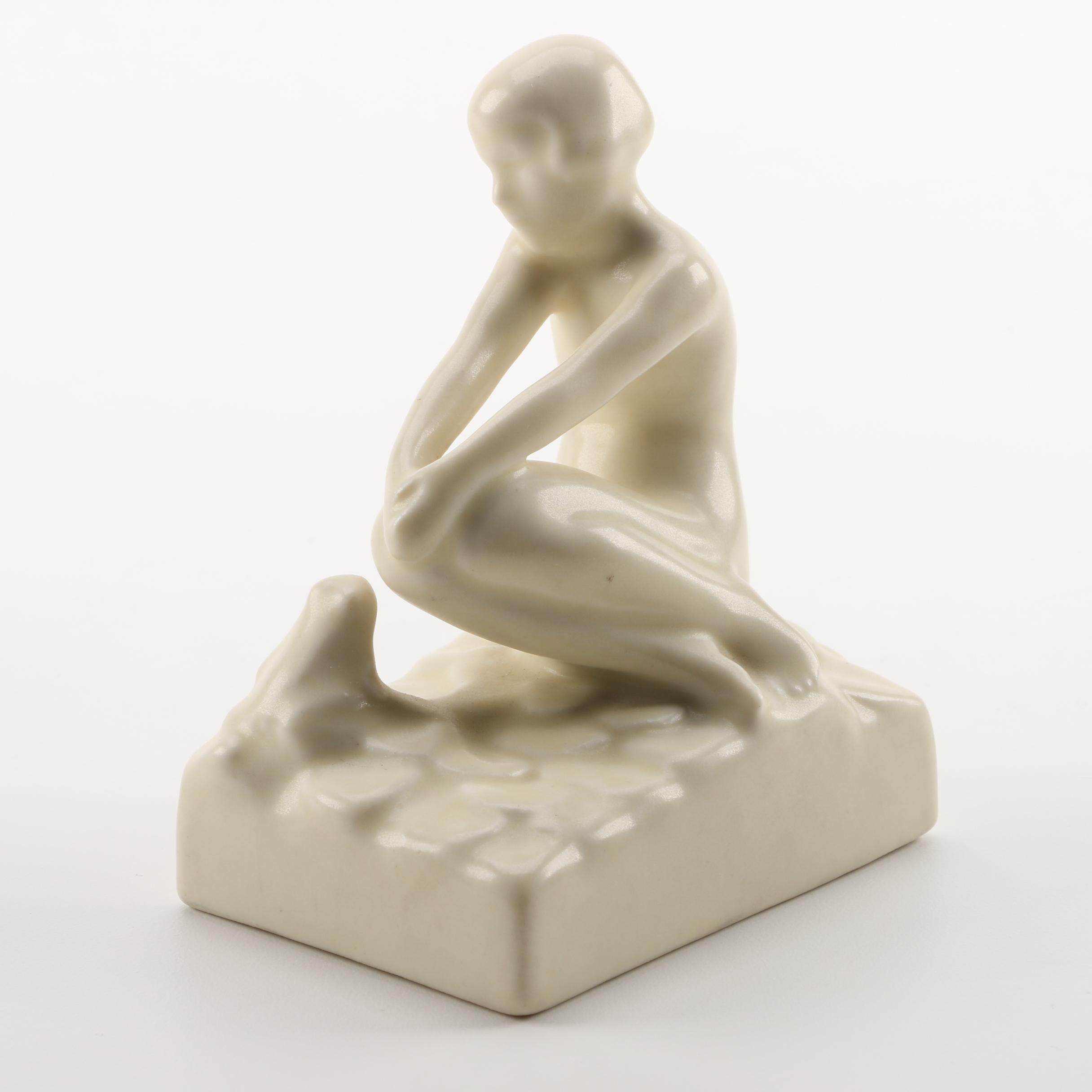 "1935 Rookwood Pottery ""Seated Nude With Frog"" Bookend"