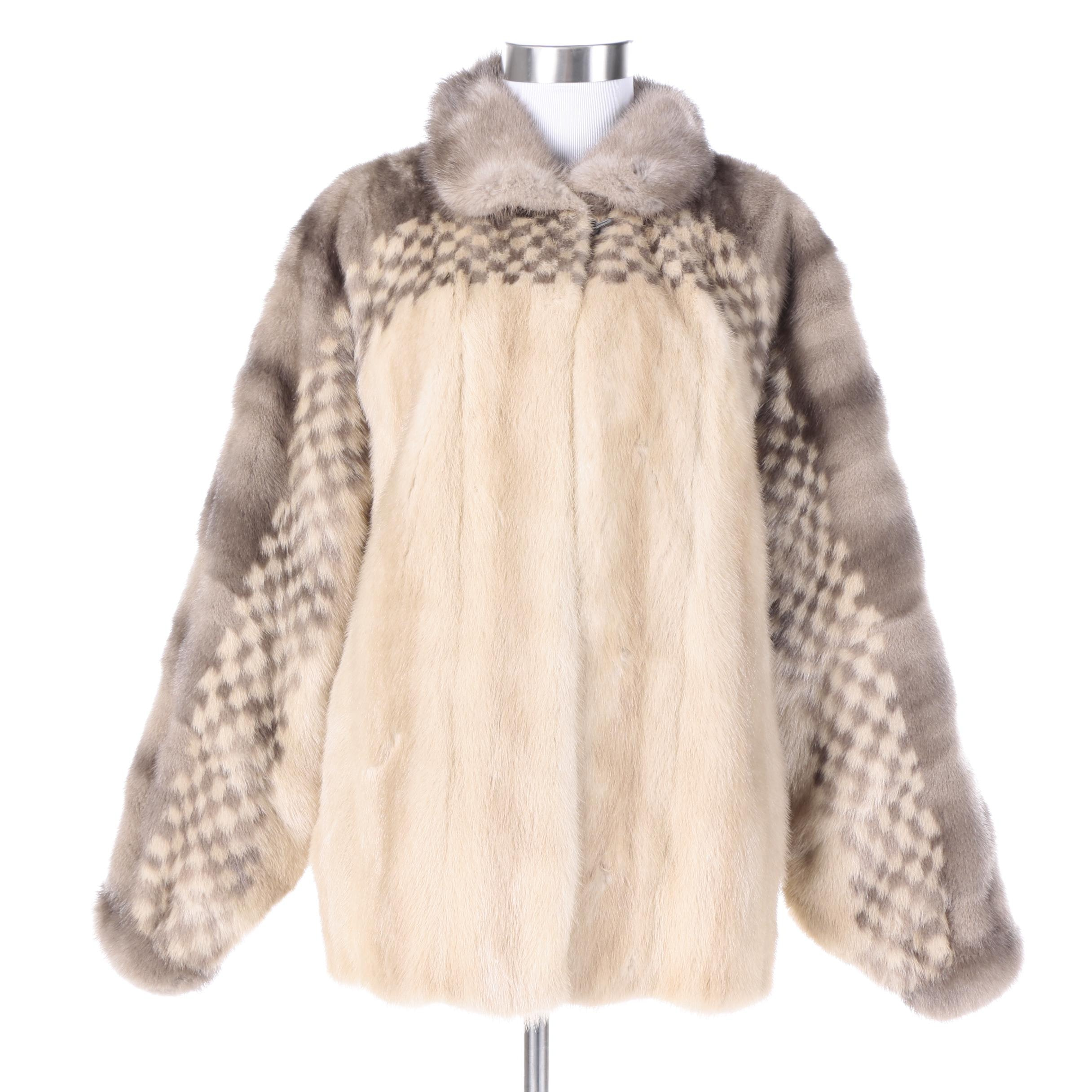 Checkered Patterned Mink Fur Coat