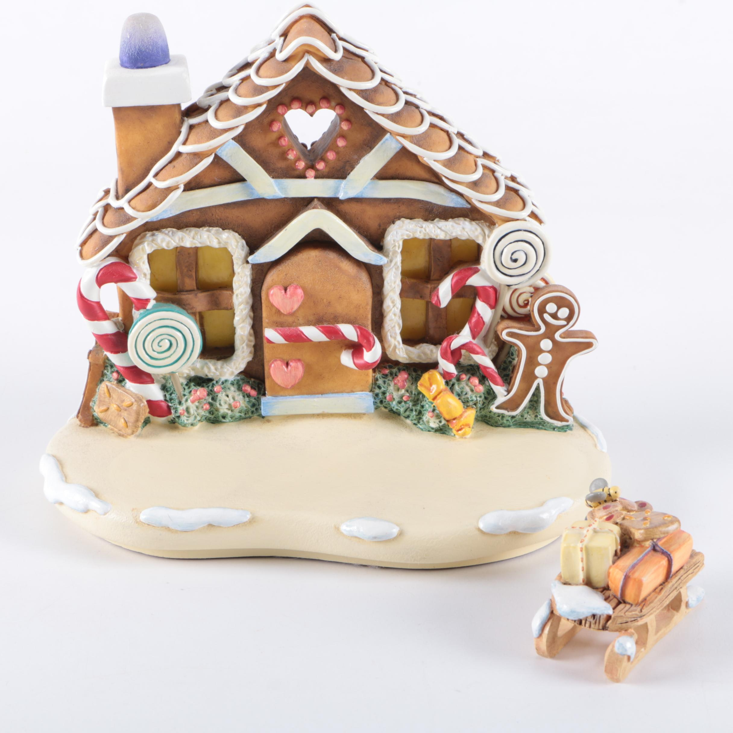 """Goebel """"Gingerbread Lane"""" Gingerbread House with a Sleigh"""
