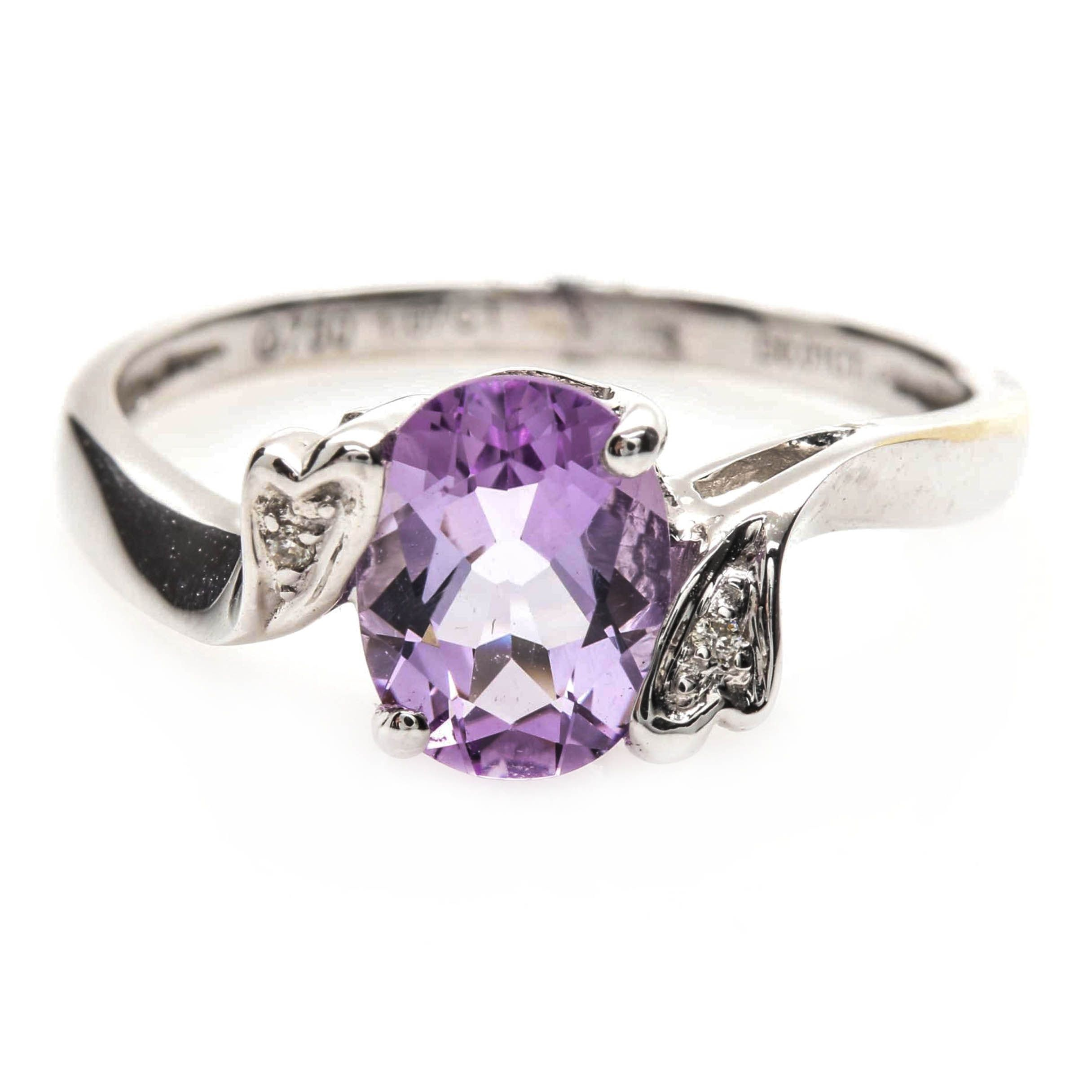 18K White Gold Amethyst and Diamond Bypass Ring
