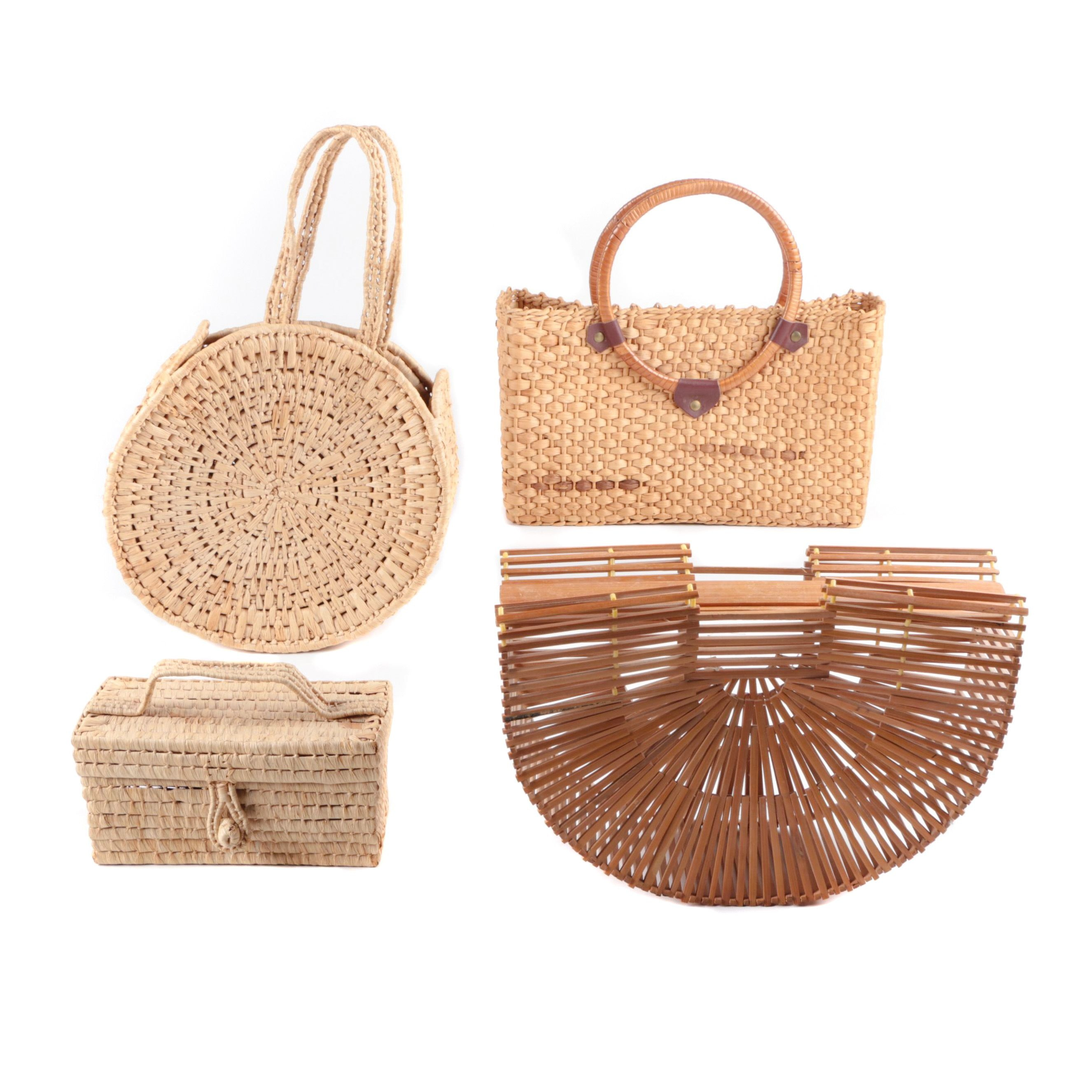 Straw and Wooden Handbags