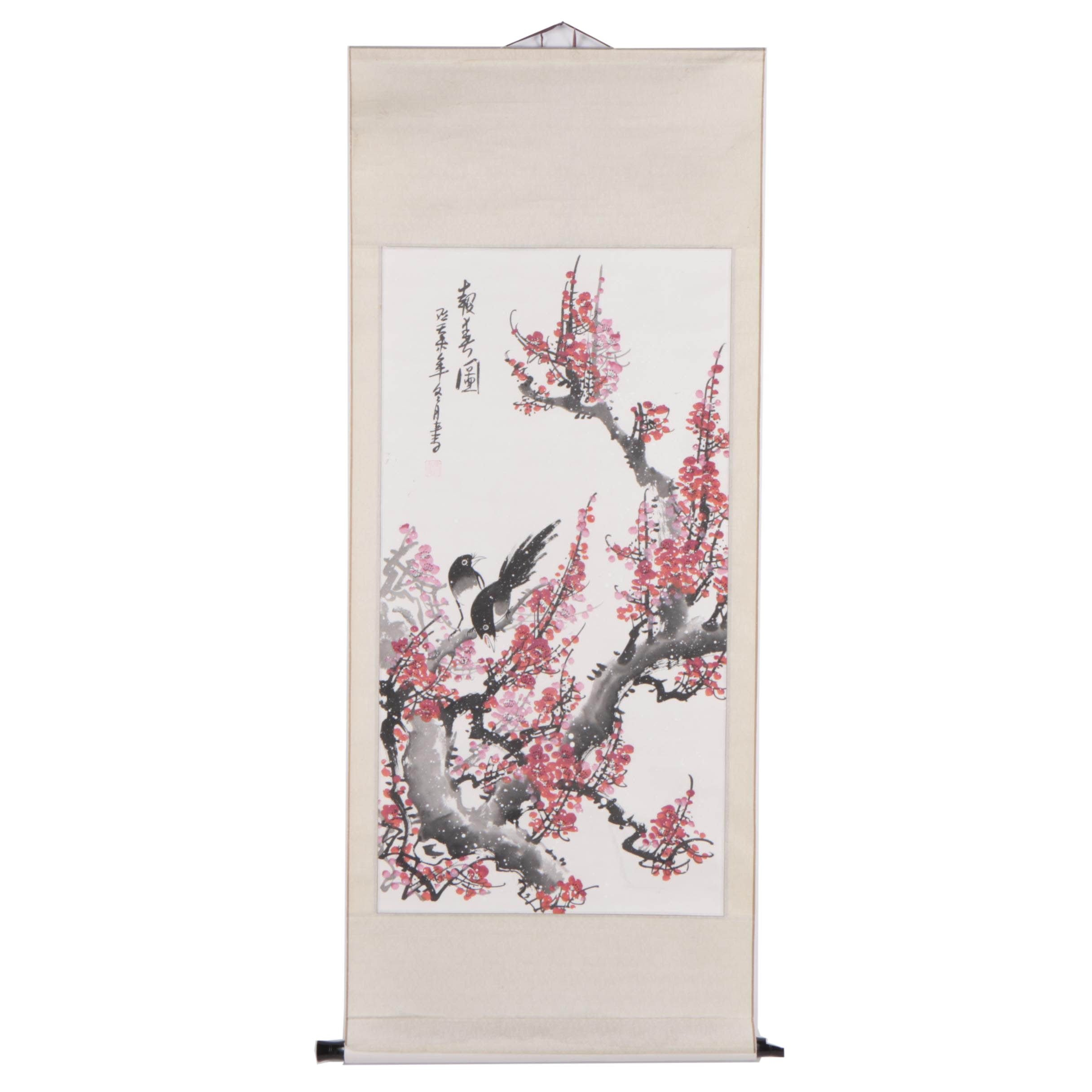 Chinese Gouache Painting Hanging Scroll Bird and Flower Motif