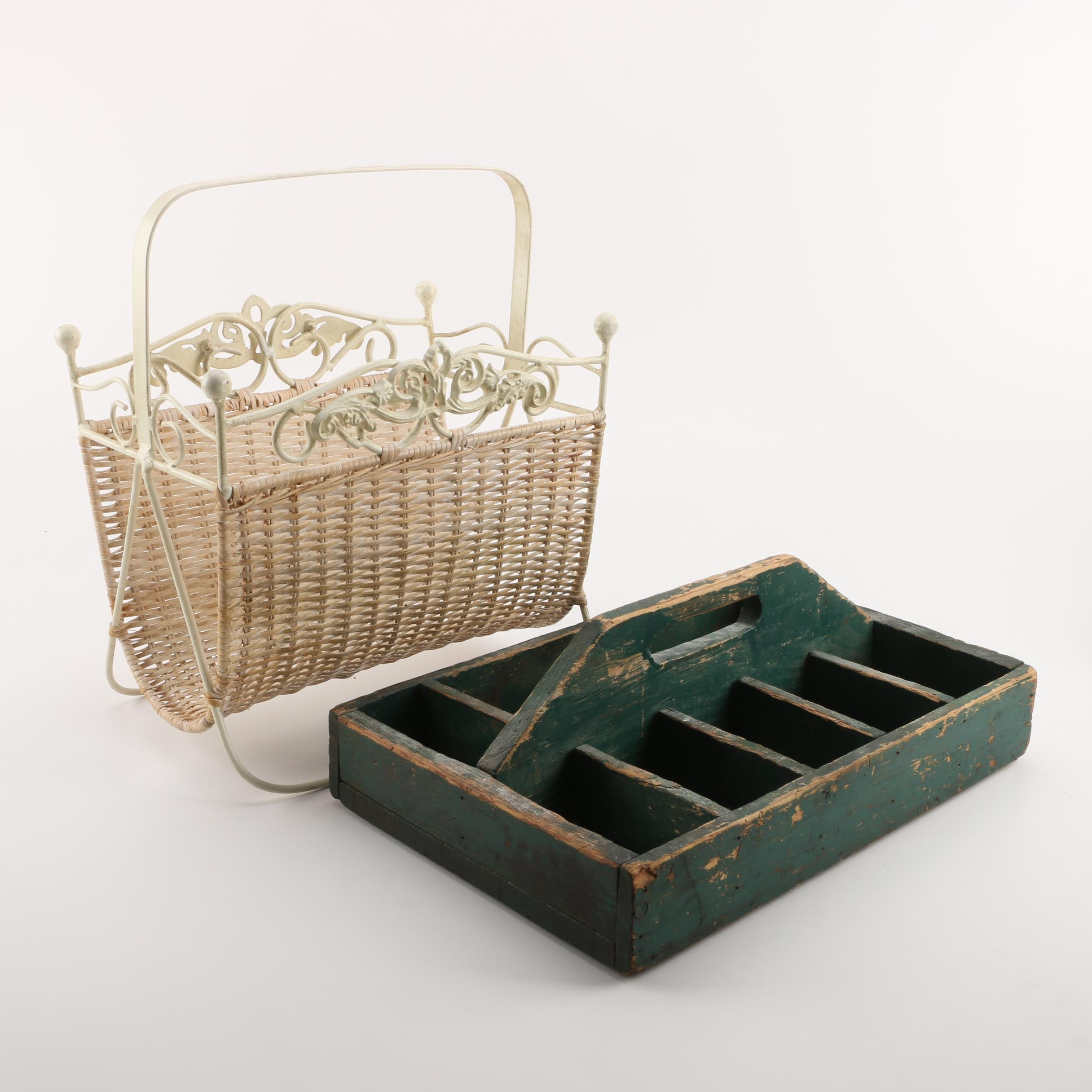 Metal and Woven Magazine Basket and Vintage Wooden Divided Tray