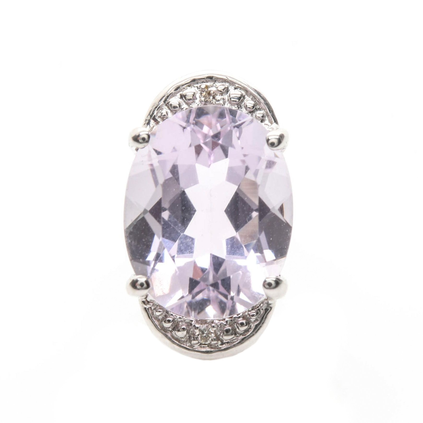 18K White Gold Amethyst and Diamond Pendant