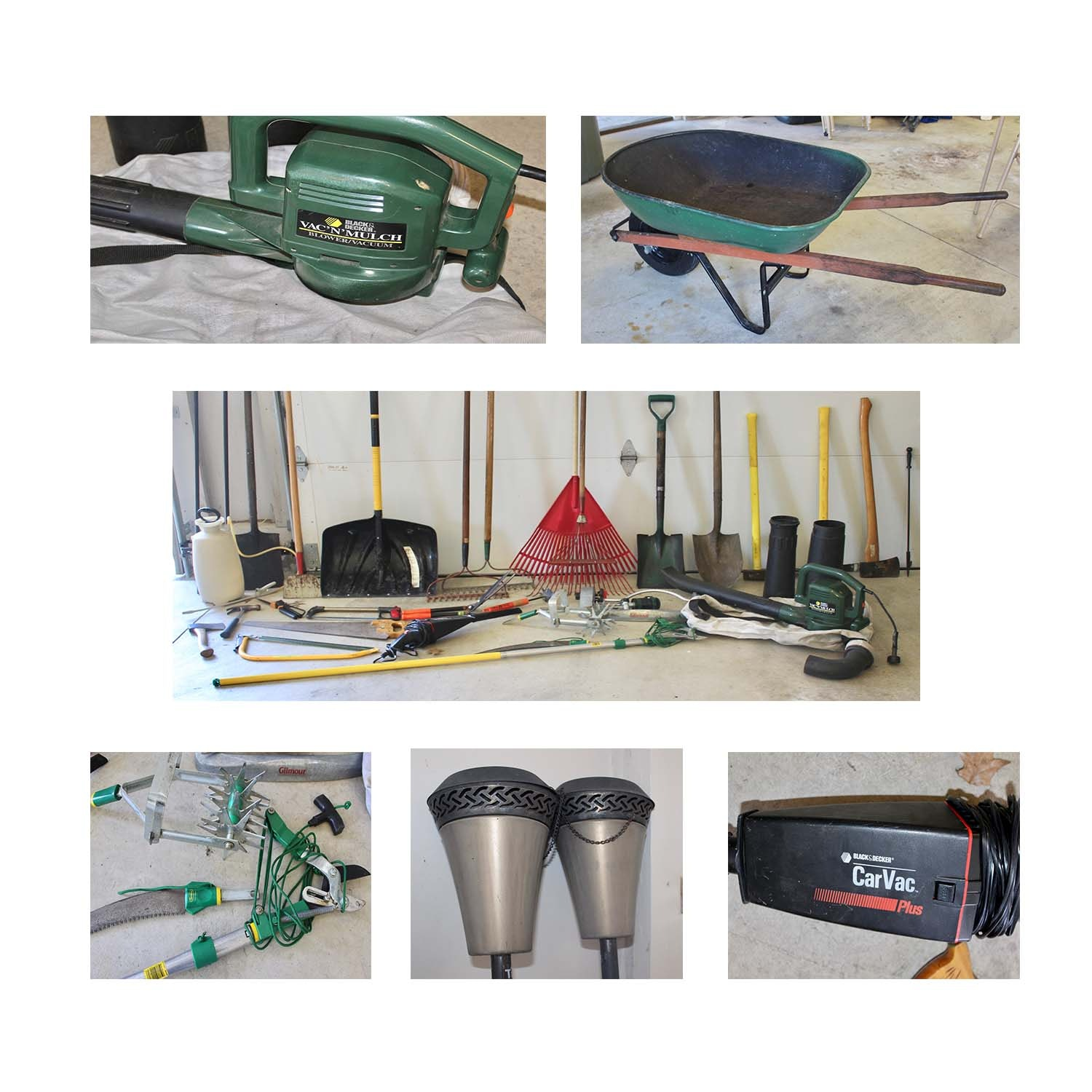 Garage and Garden Tools and Accessories Including Black & Decker