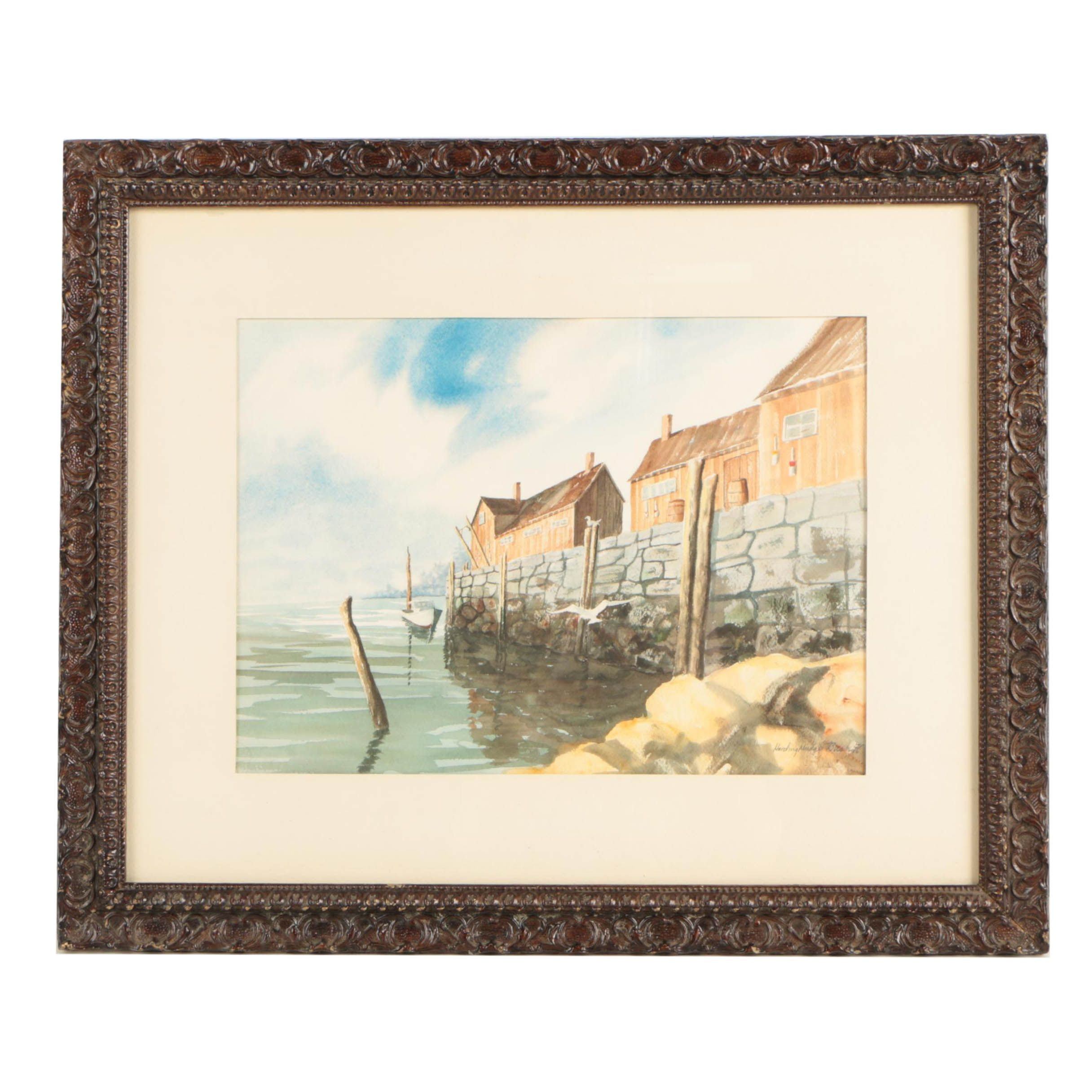 "Harding Mudge Bush Watercolor Painting ""Gloucester Pier"""