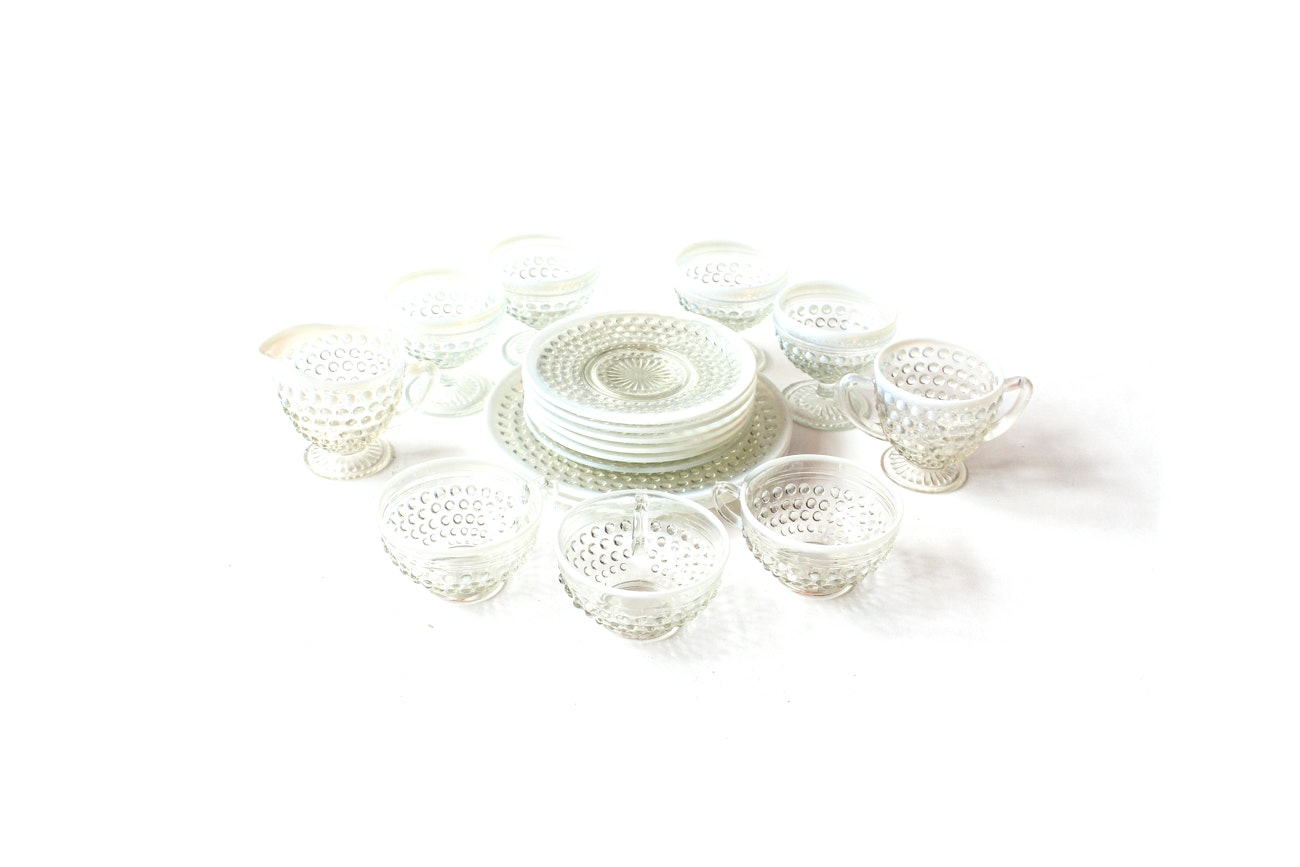 Opalescent Glass Hobnail Tableware
