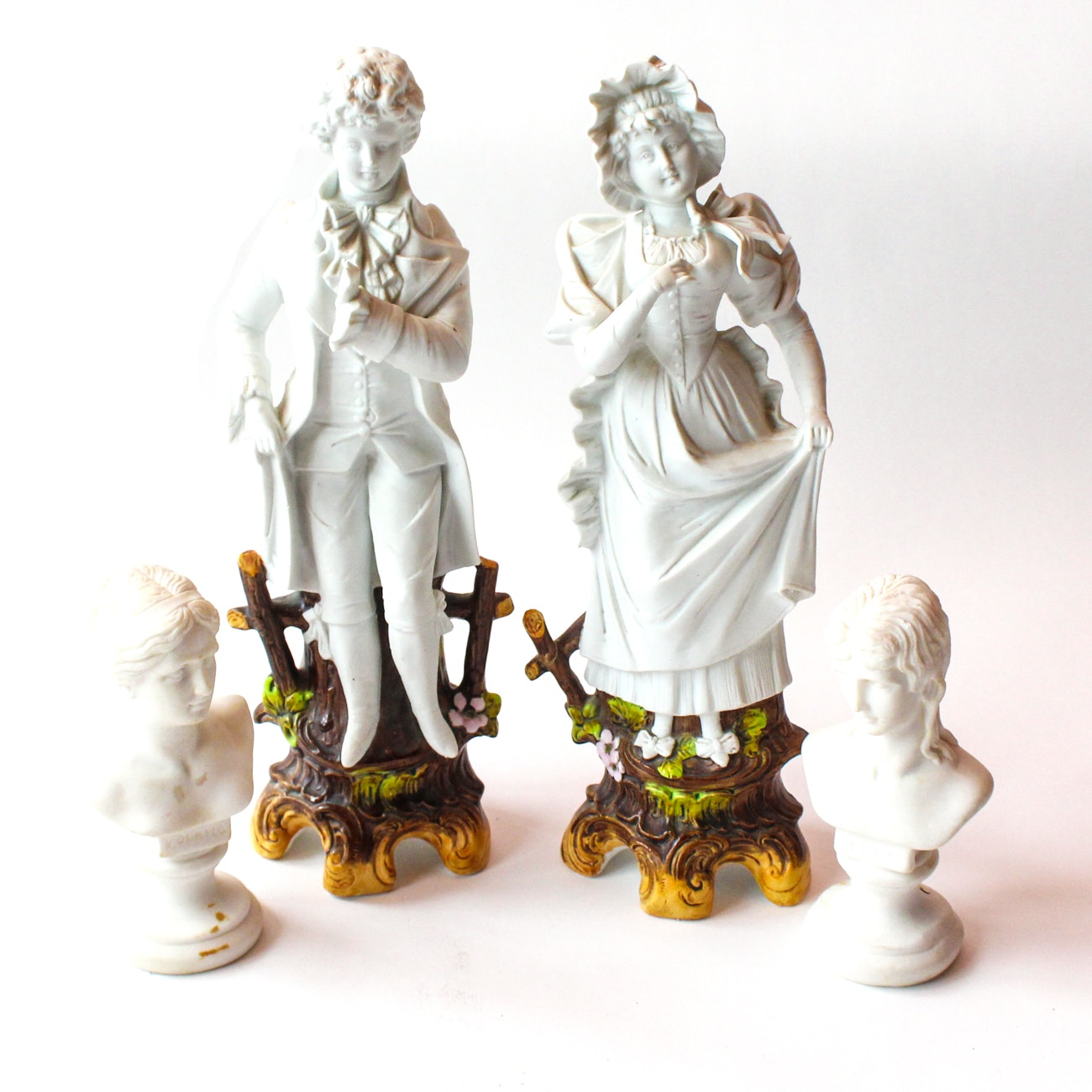 Porcelain Figurines Featuring Signed Italian Busts