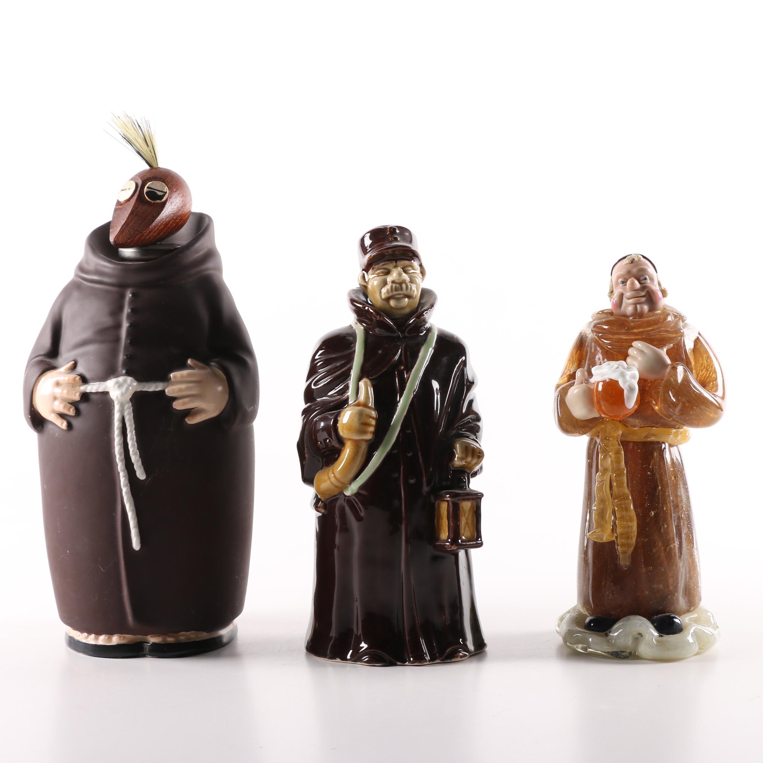 "Vintage Goebel ""Friar Tuck"" Wine Bottle and Art Glass Monk Figurine"