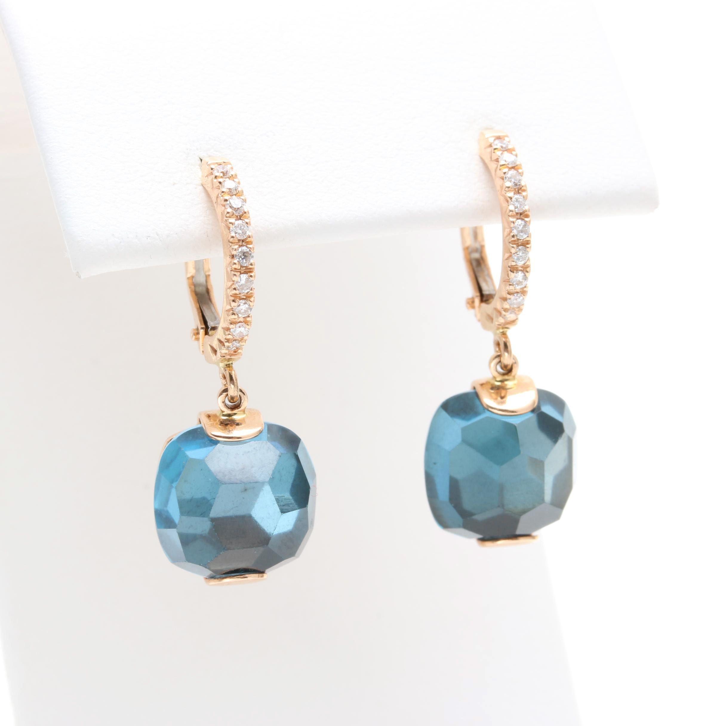Zoccai 18K Yellow Gold Blue Topaz and Diamond Earrings