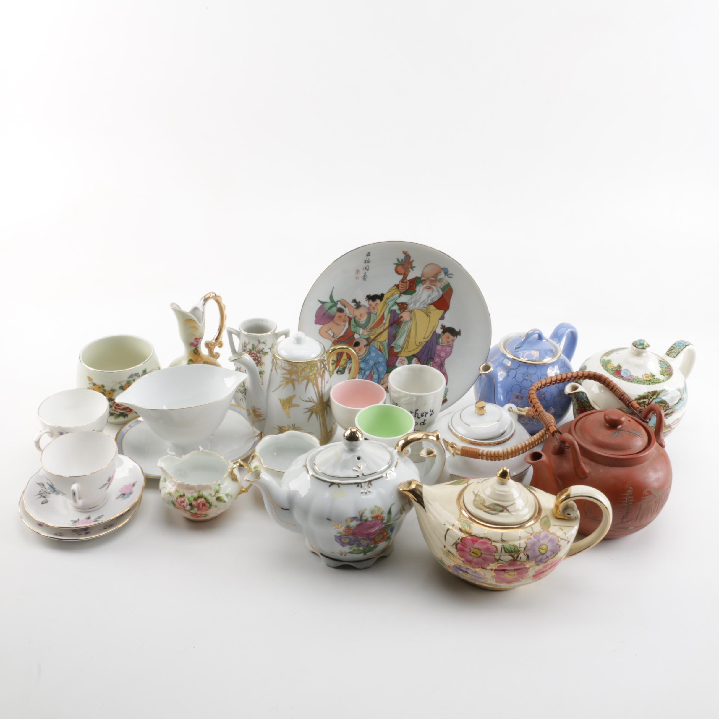 Vintage Teapots, Cups and Saucers Including Hall