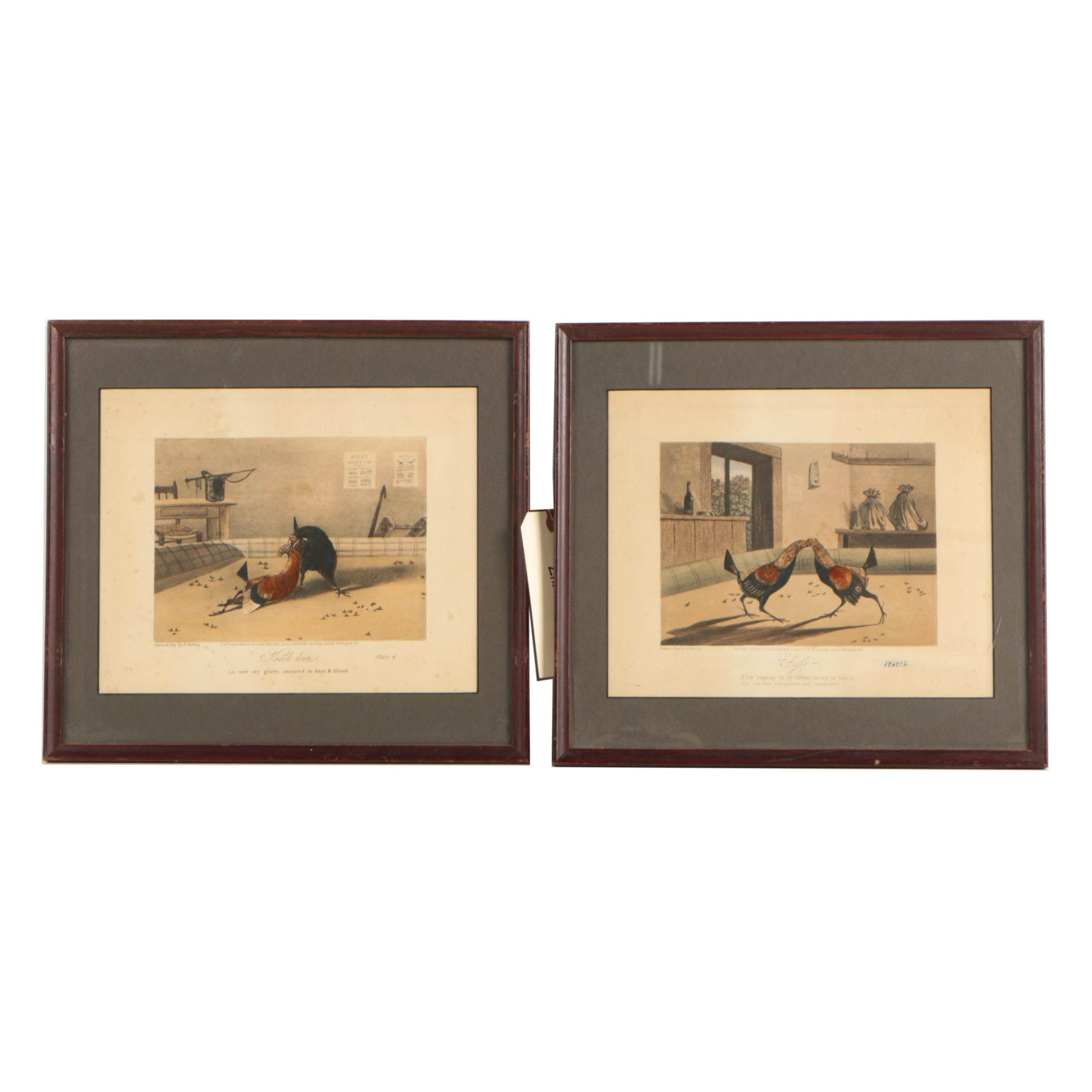 "Hand Colored Collotype Prints ""Knockdown"" and ""Fight"" after N. Fielding"