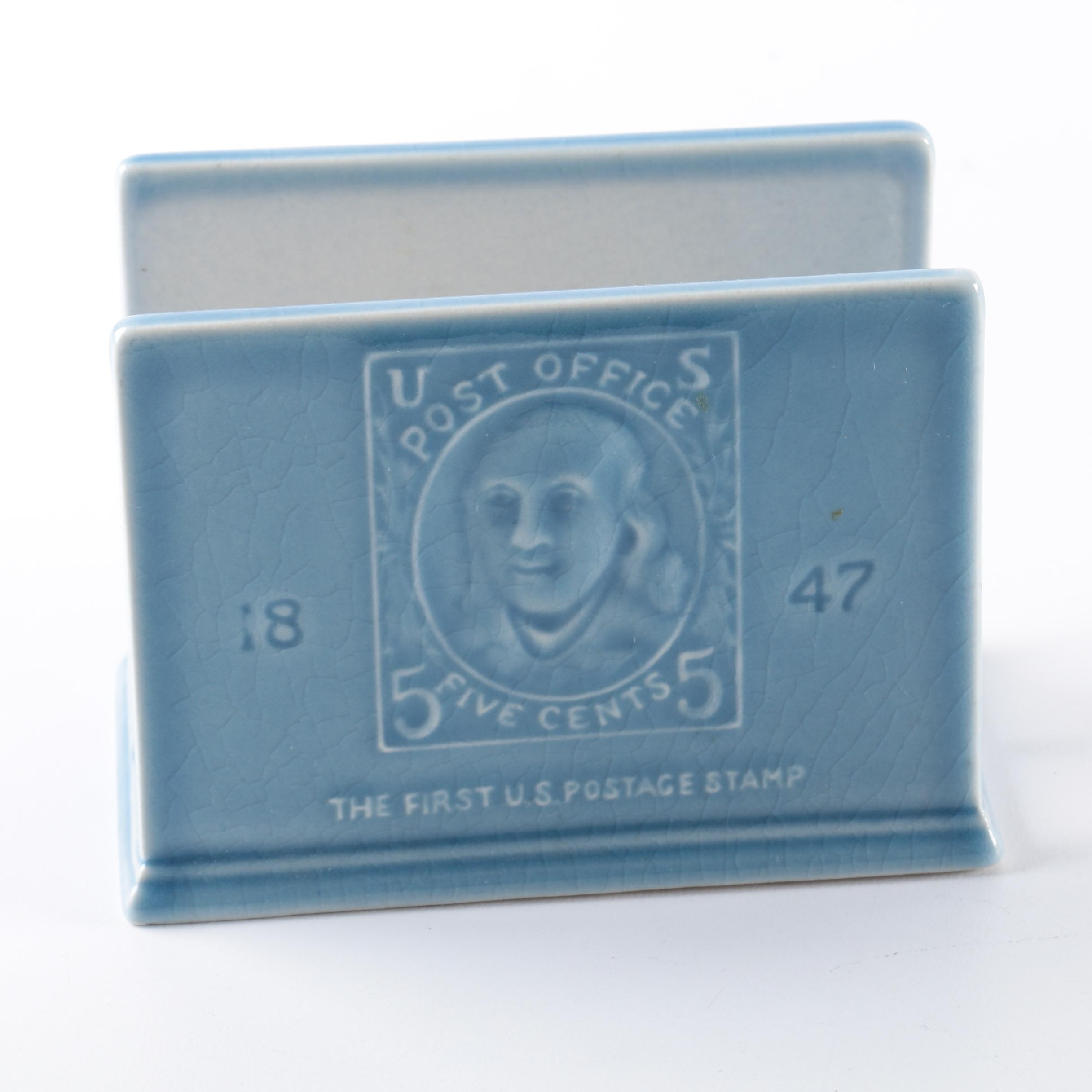 "1956 Rookwood ""The First U.S. Postage Stamp"" Letter Holder"