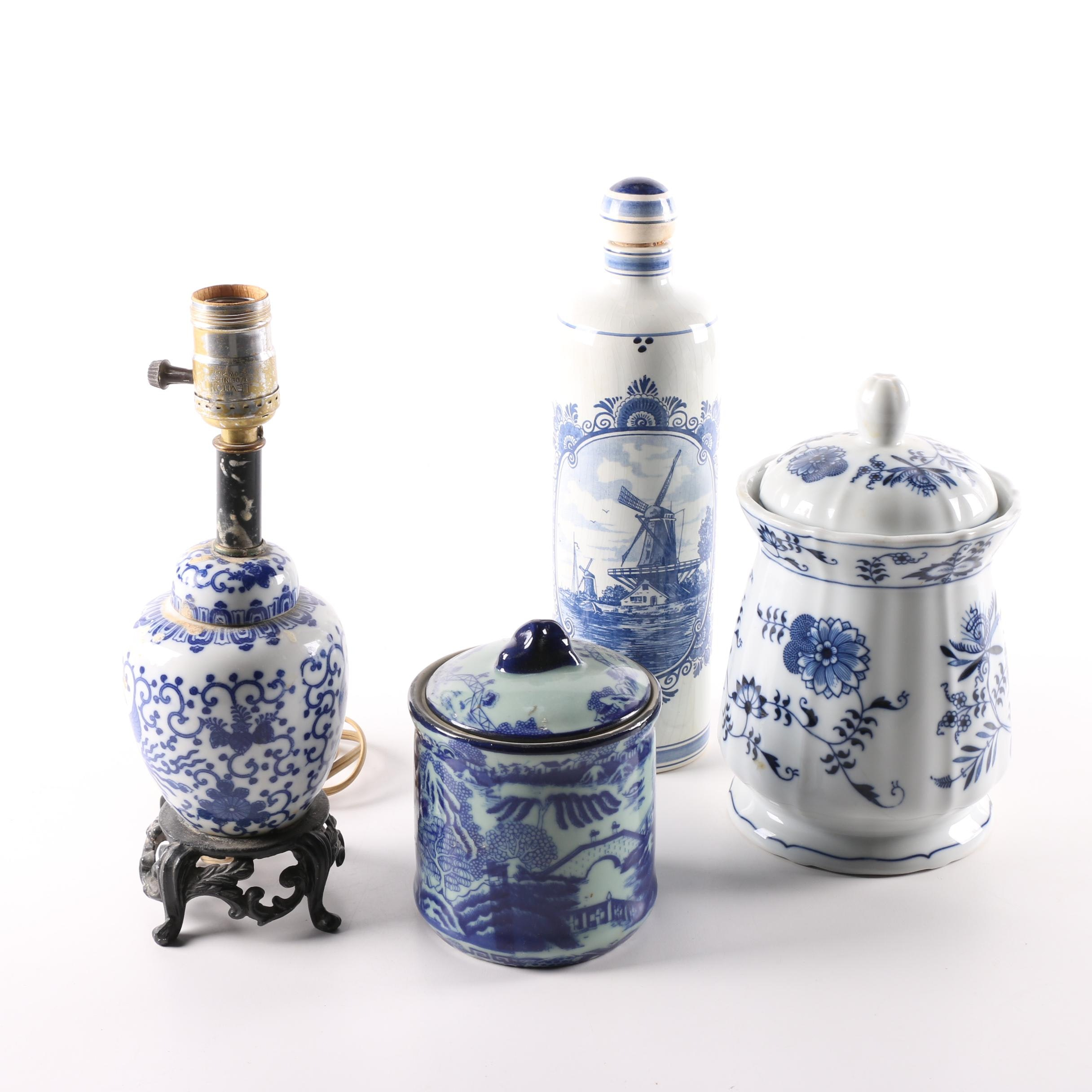 Ginger Jar Lamp and Other Blue and White Ceramic Vessels