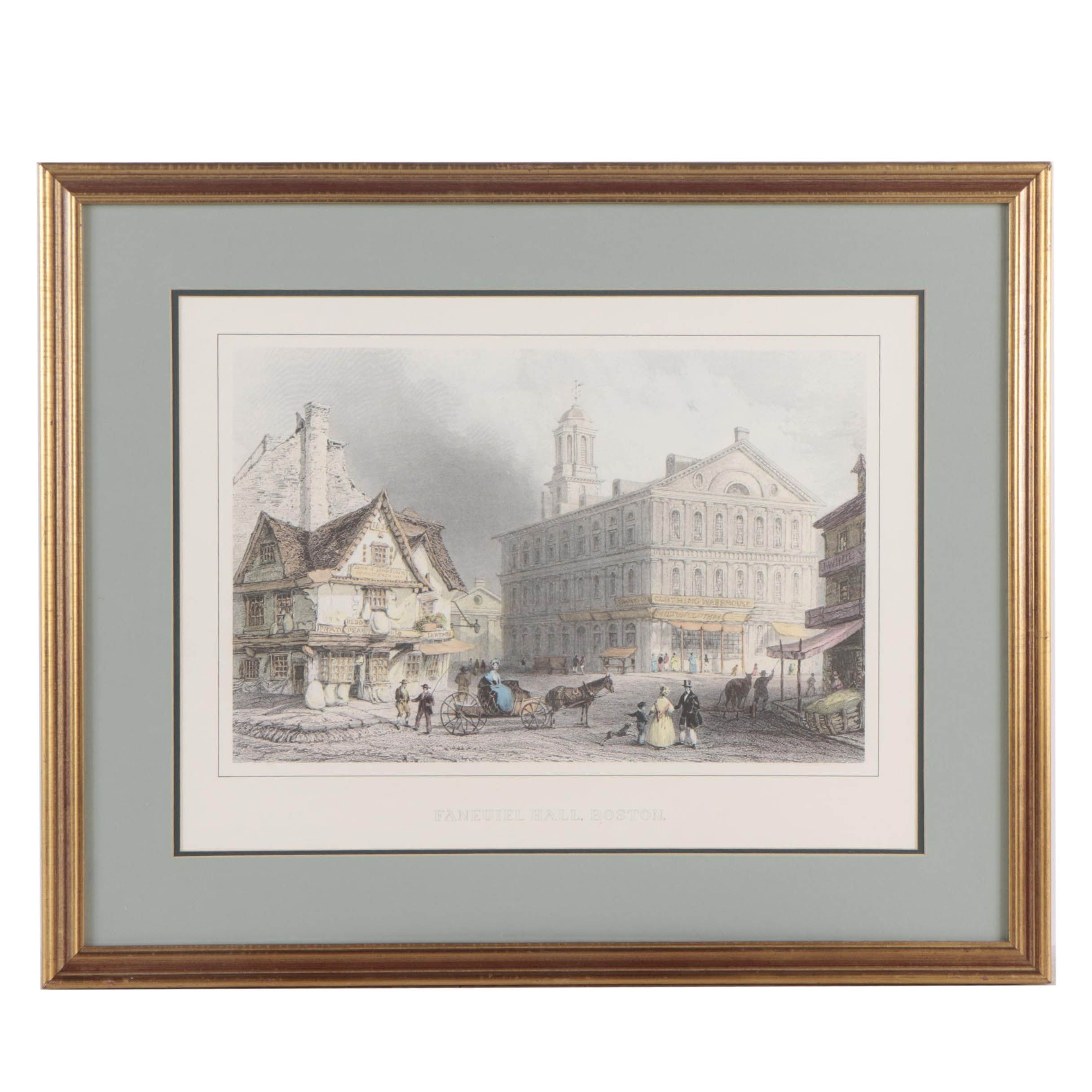 "Hand-Colored Halftone Print After William H. Bartlett's ""Faneuiel Hall, Boston"""
