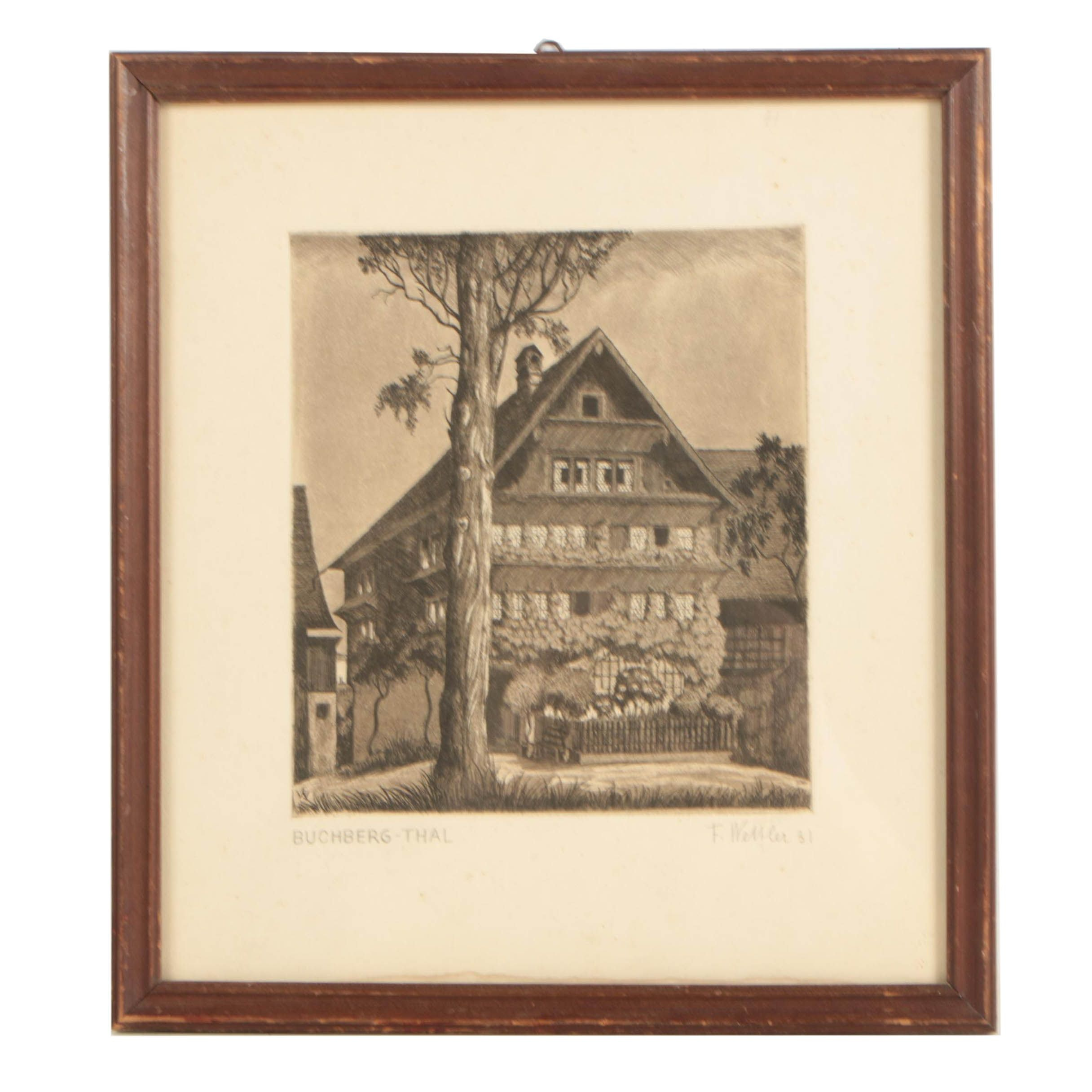 """F. Wessler Etching with Aquatint """"Buchberg - Thal"""""""