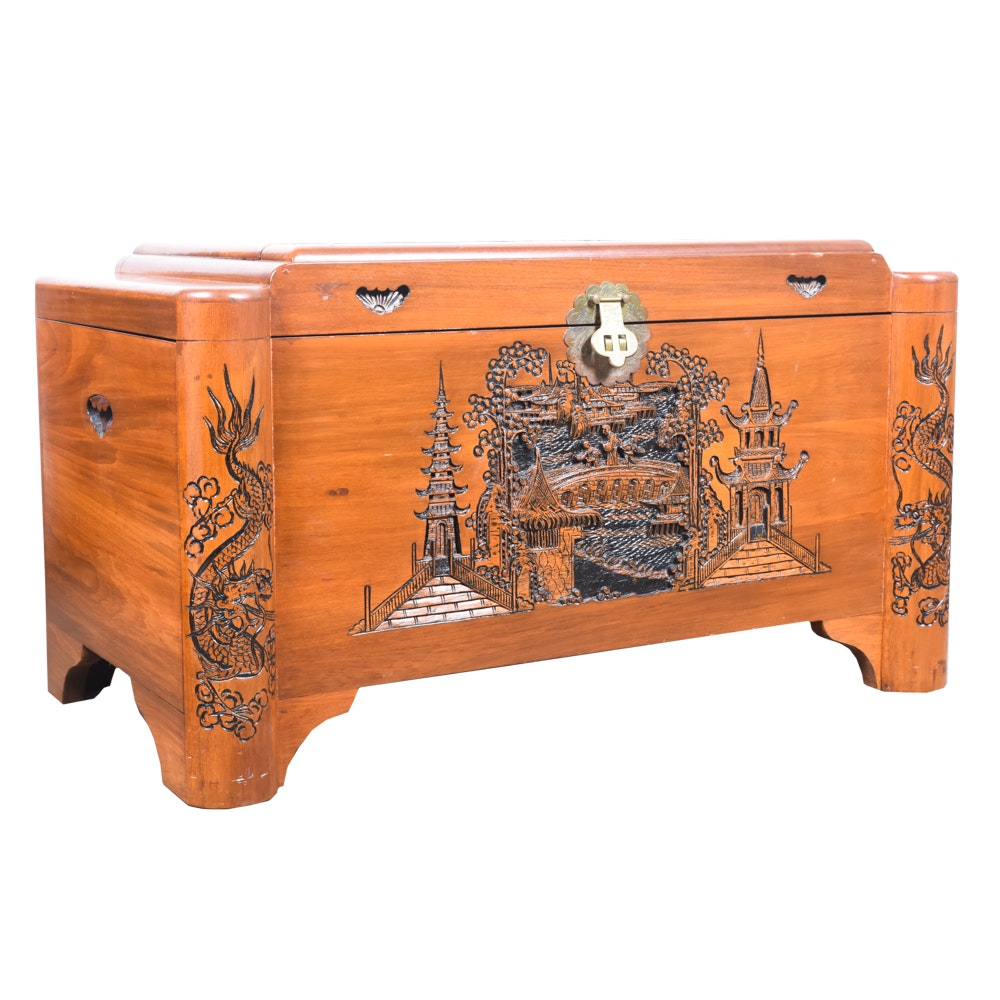 Vintage Camphor and Ash Art Deco Chinese Chest with Deep Pictorial Carvings