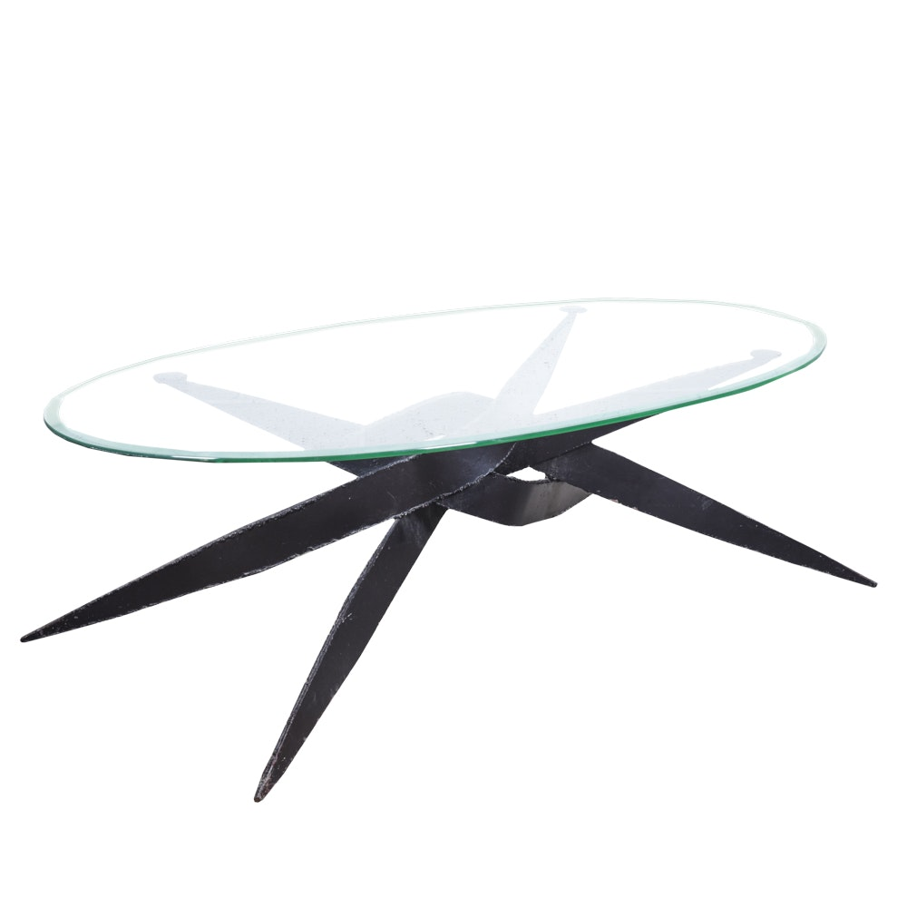 Contemporary Industrial Style Wrought Iron And Glass Coffee Table