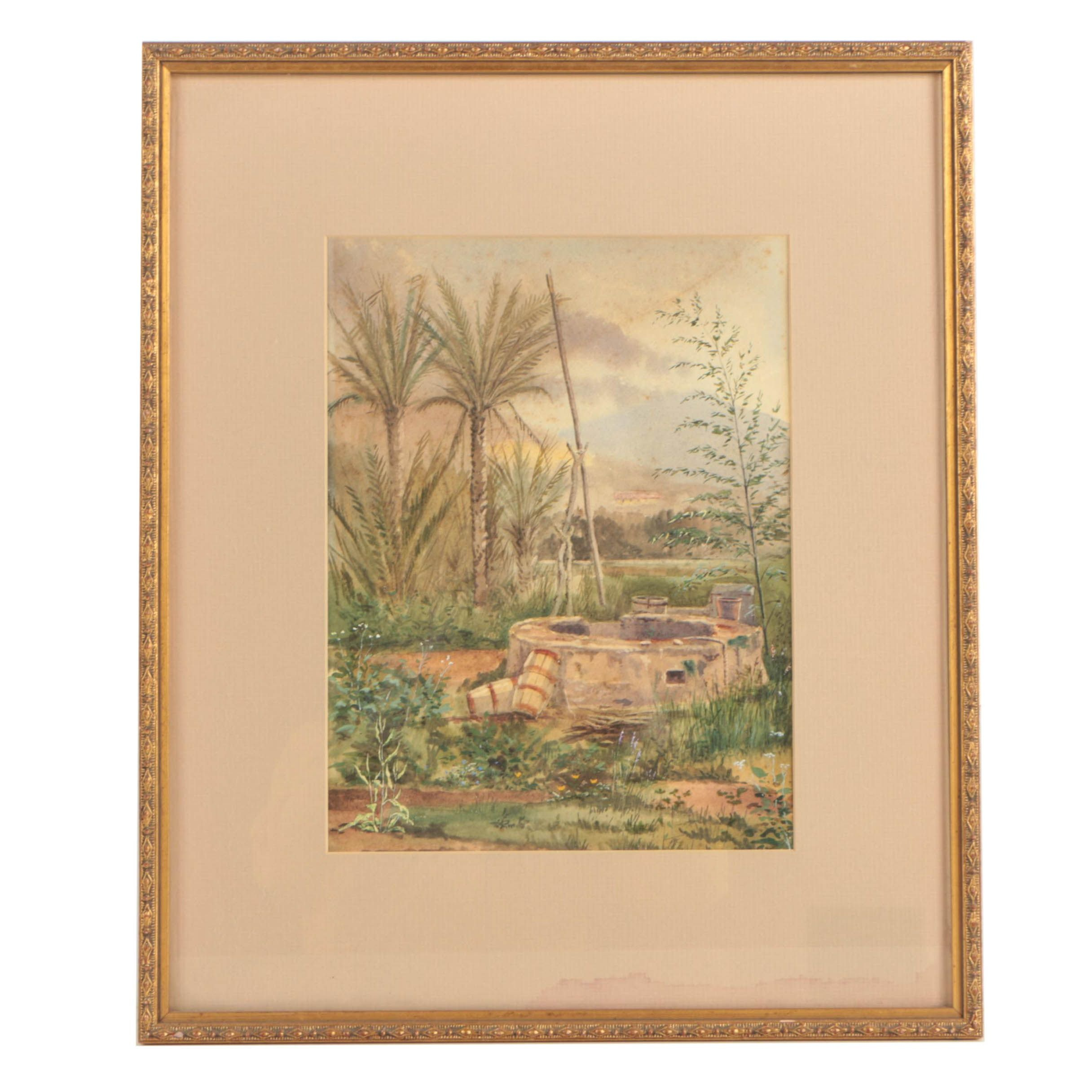 "Antique Watercolor of a Well ""In a Garden, Bordighera"""