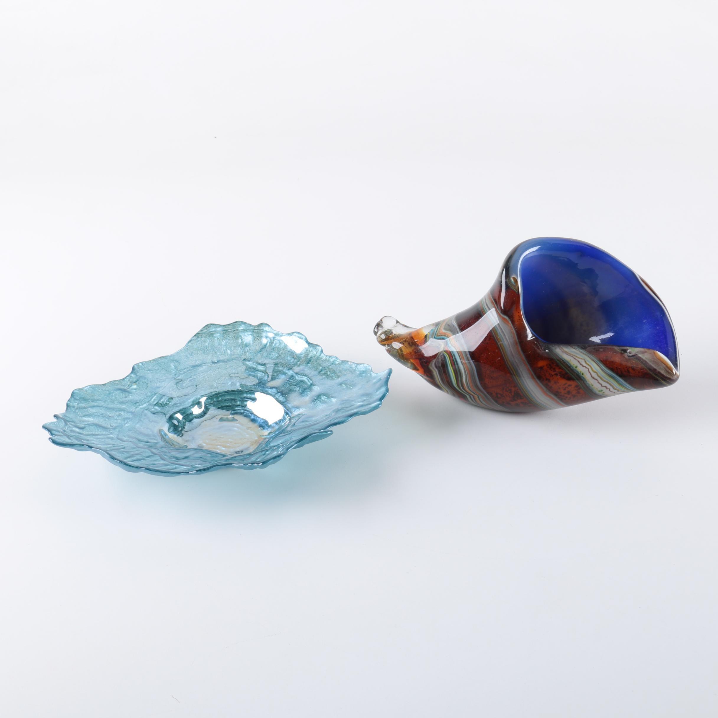 Murano Style Glass Cornucopia with Decorative Platter