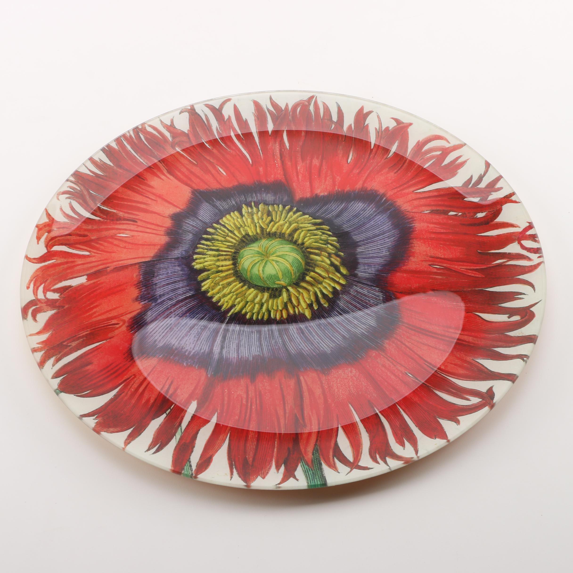 John Derian Company Decorative Glass Floral Plate